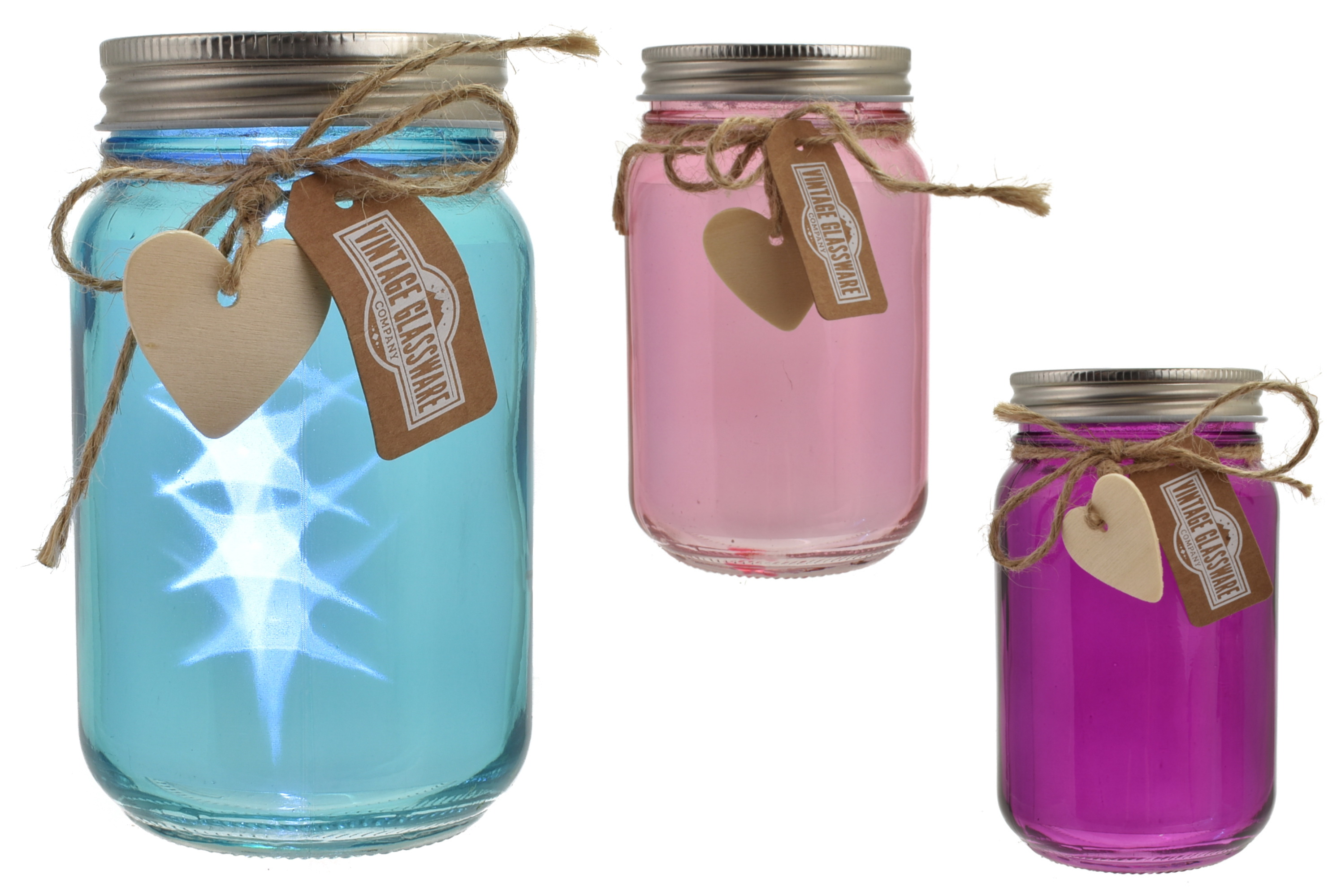 Glass Jar With Led Lights 3 Assorted