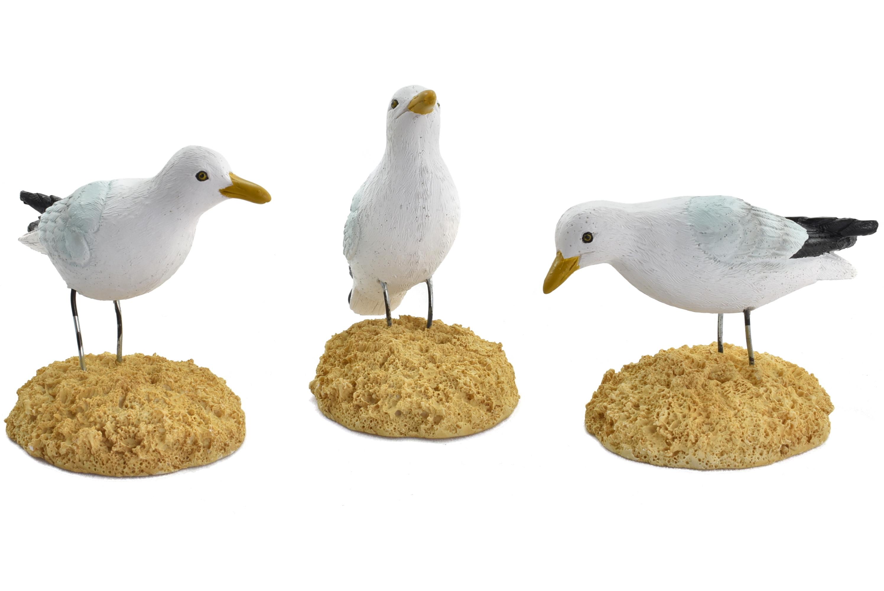 Seagull Ornament 7.5x8.5cm 3 Assorted