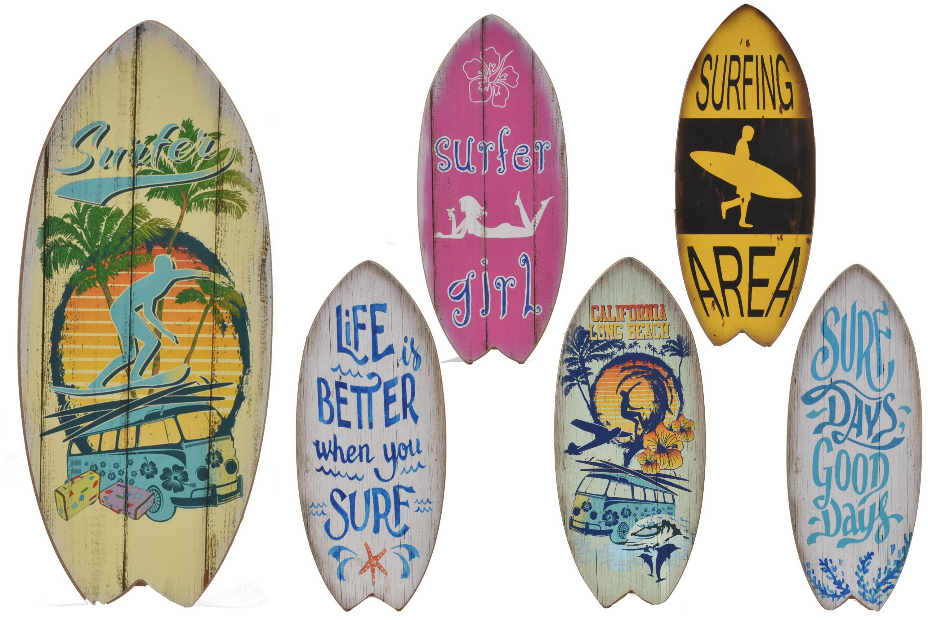 30 x 13cm Wooden Surfboard 6 Assorted Designs