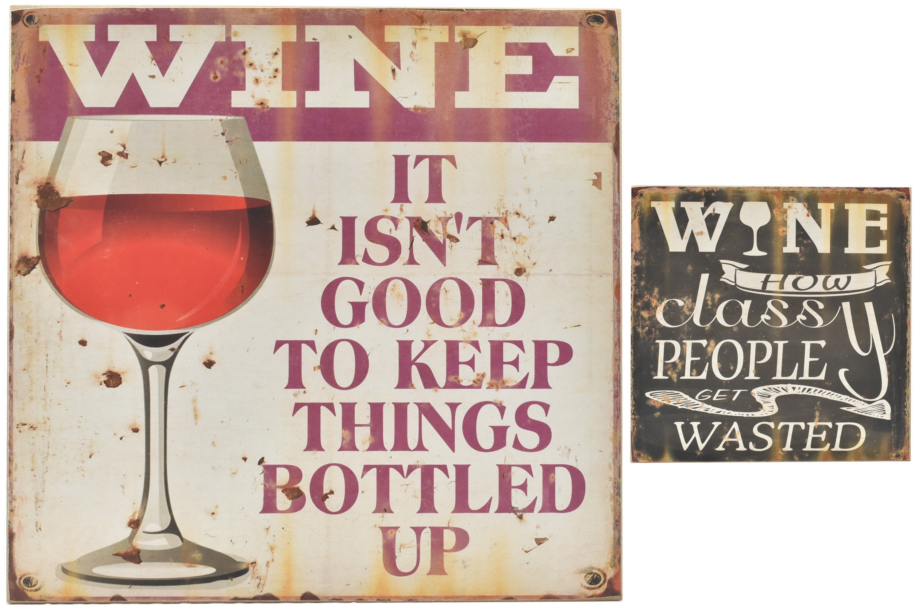 30 x 30cm Wood Sign Wine 2 Assorted Designs
