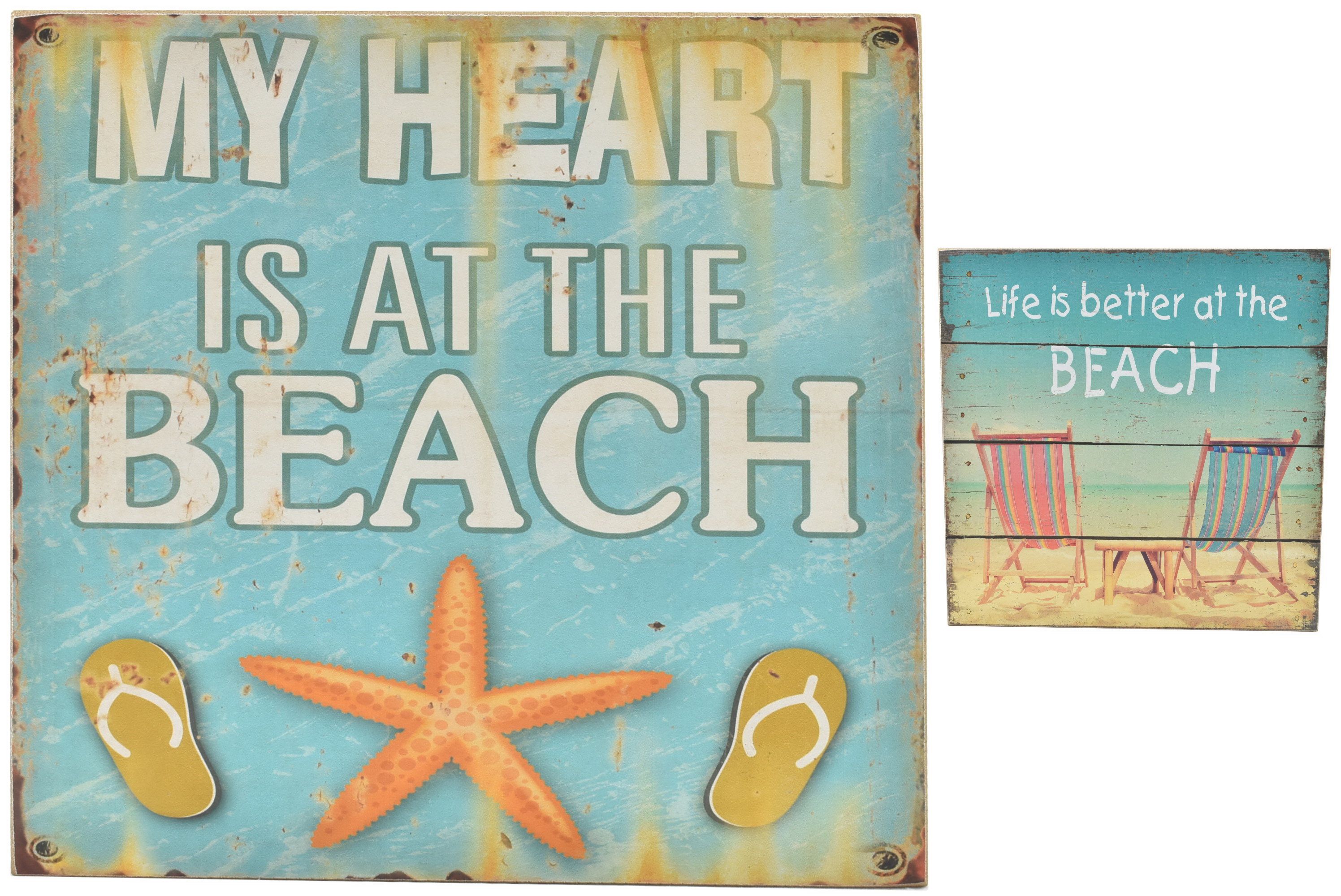 30 x 30cm Wood Sign Beach 2 Assorted Designs
