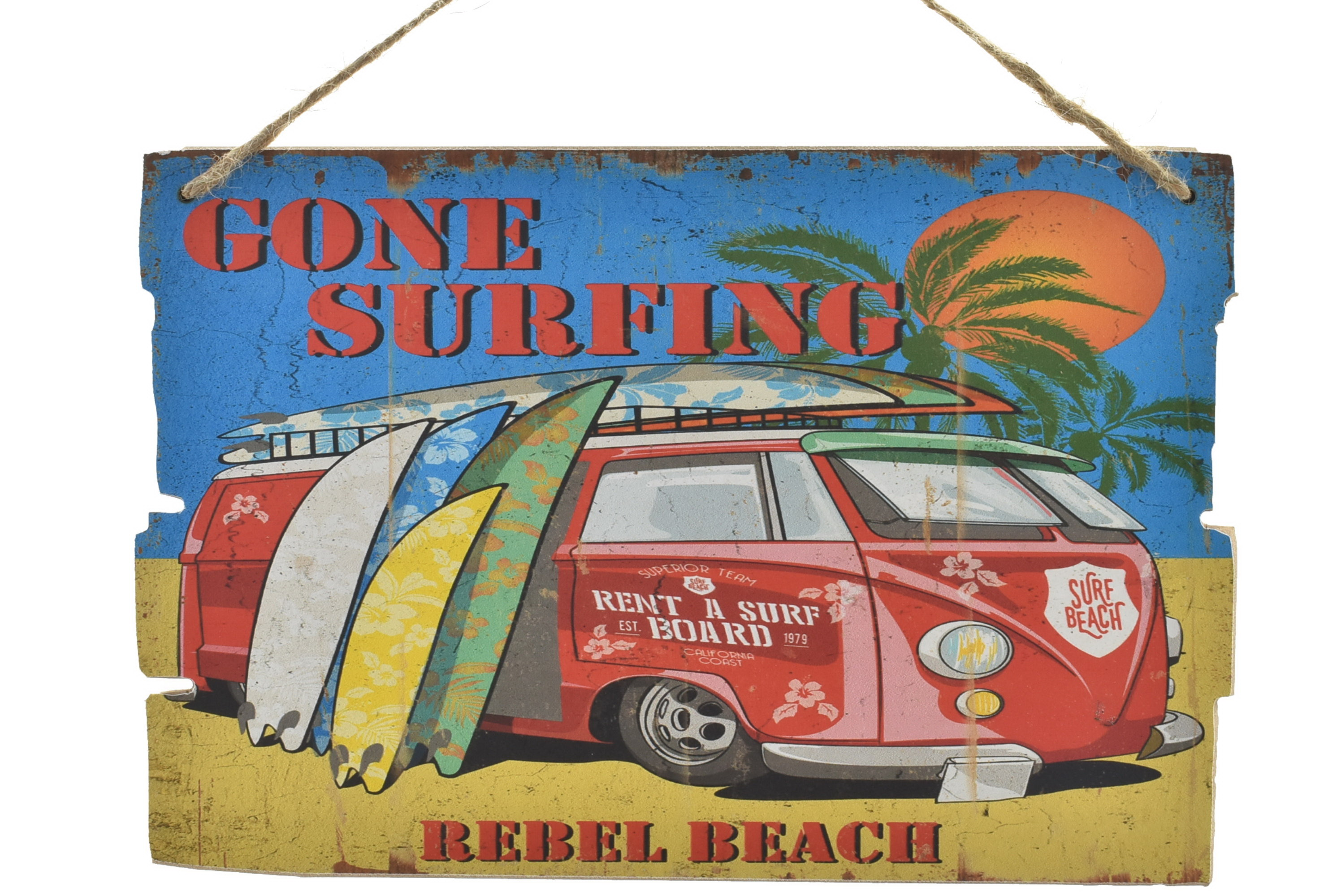 Wood Sign With Rope 30 x 20cm Surf Bus Design