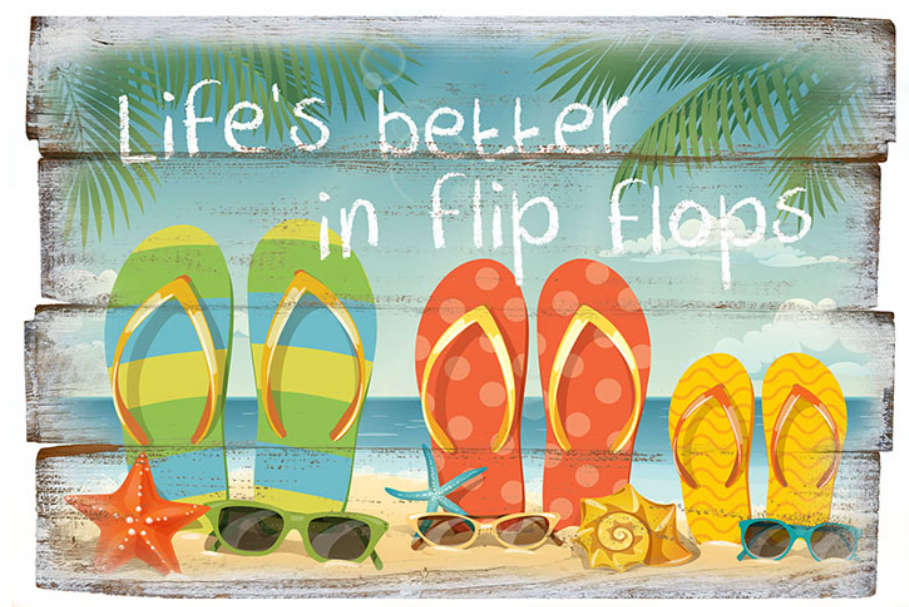 Wood Sign With Rope 30 x 20cm Flip Flop Design