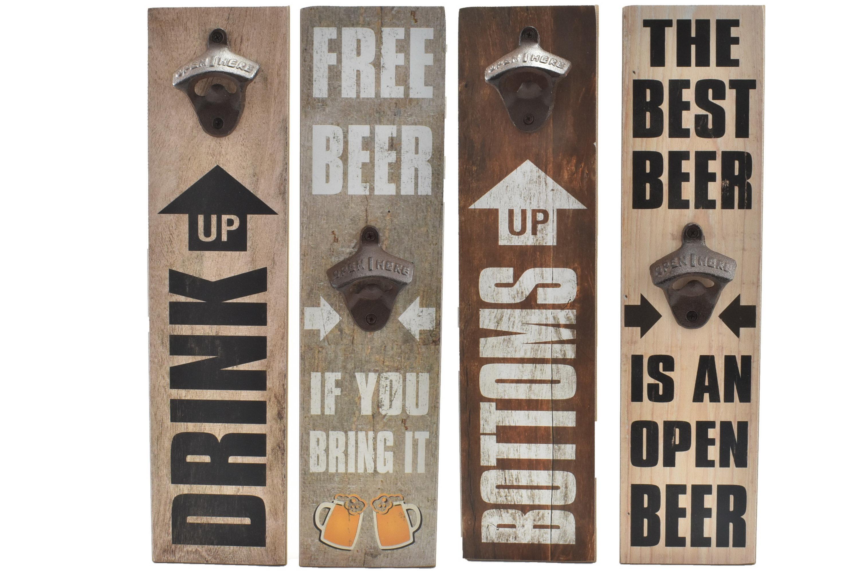 Wood Sign Bottle Opener 40 x 10cm 4 Assorted Designs