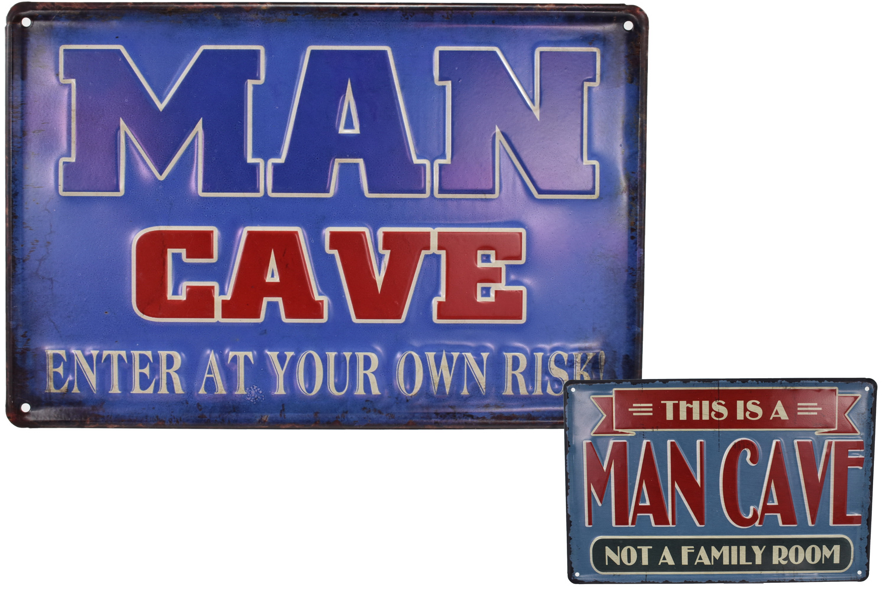 Metal Sign Embozzed 30 x 20cm Man Cave Design 2 Asst