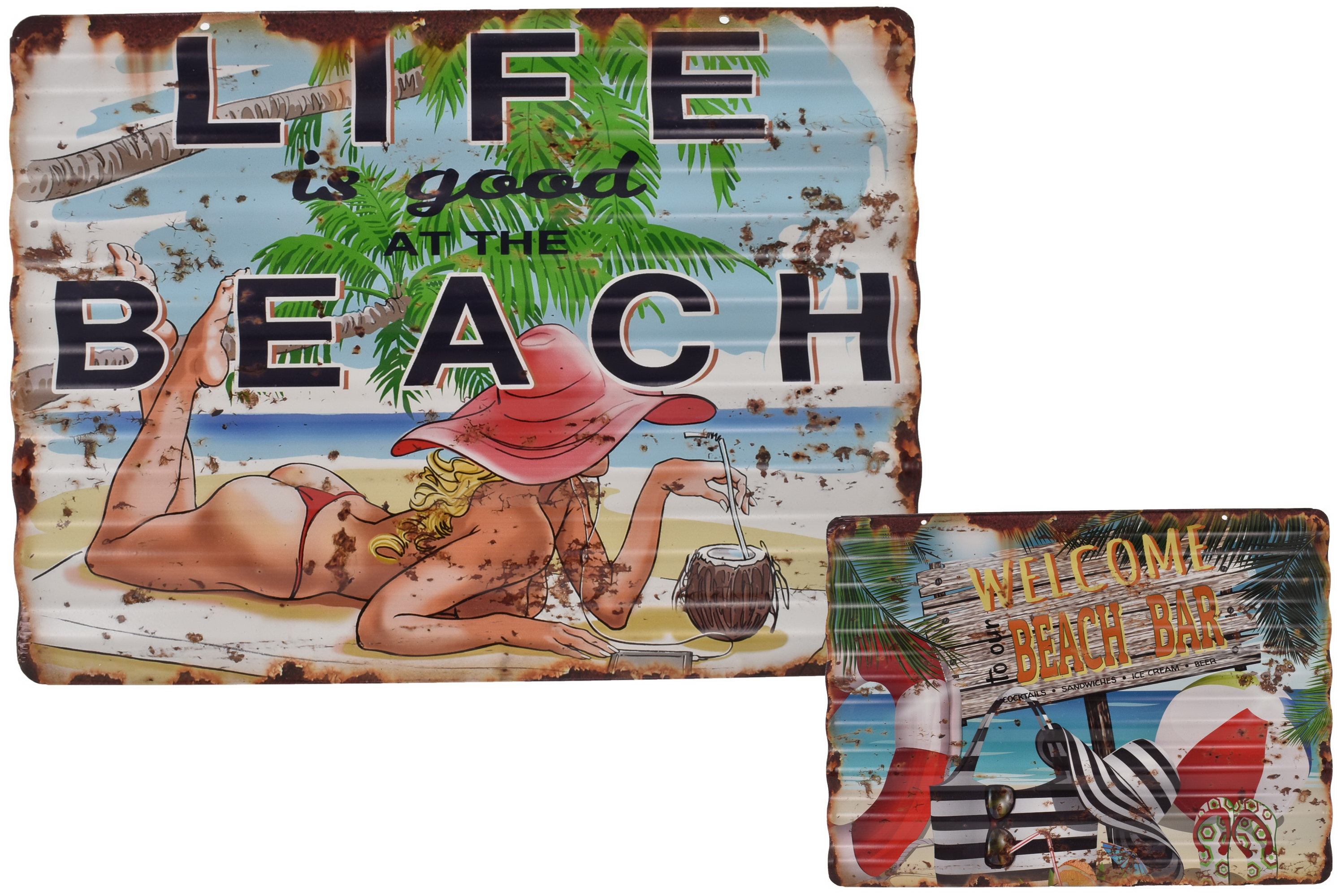 Corrugated Metal Sign Beach Design 2 Assorted 40x30cm