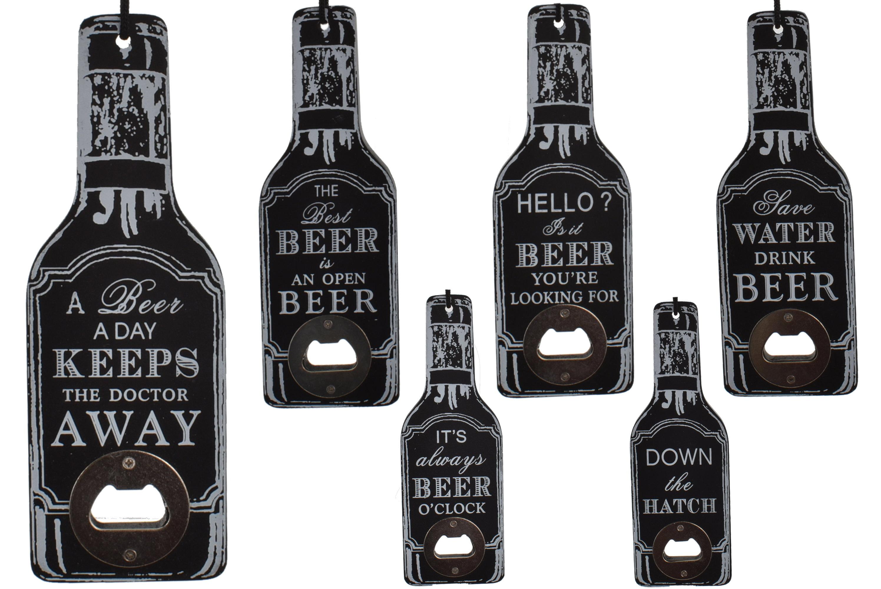 Wooden Beer Bottle Shape Opener 6 Assorted