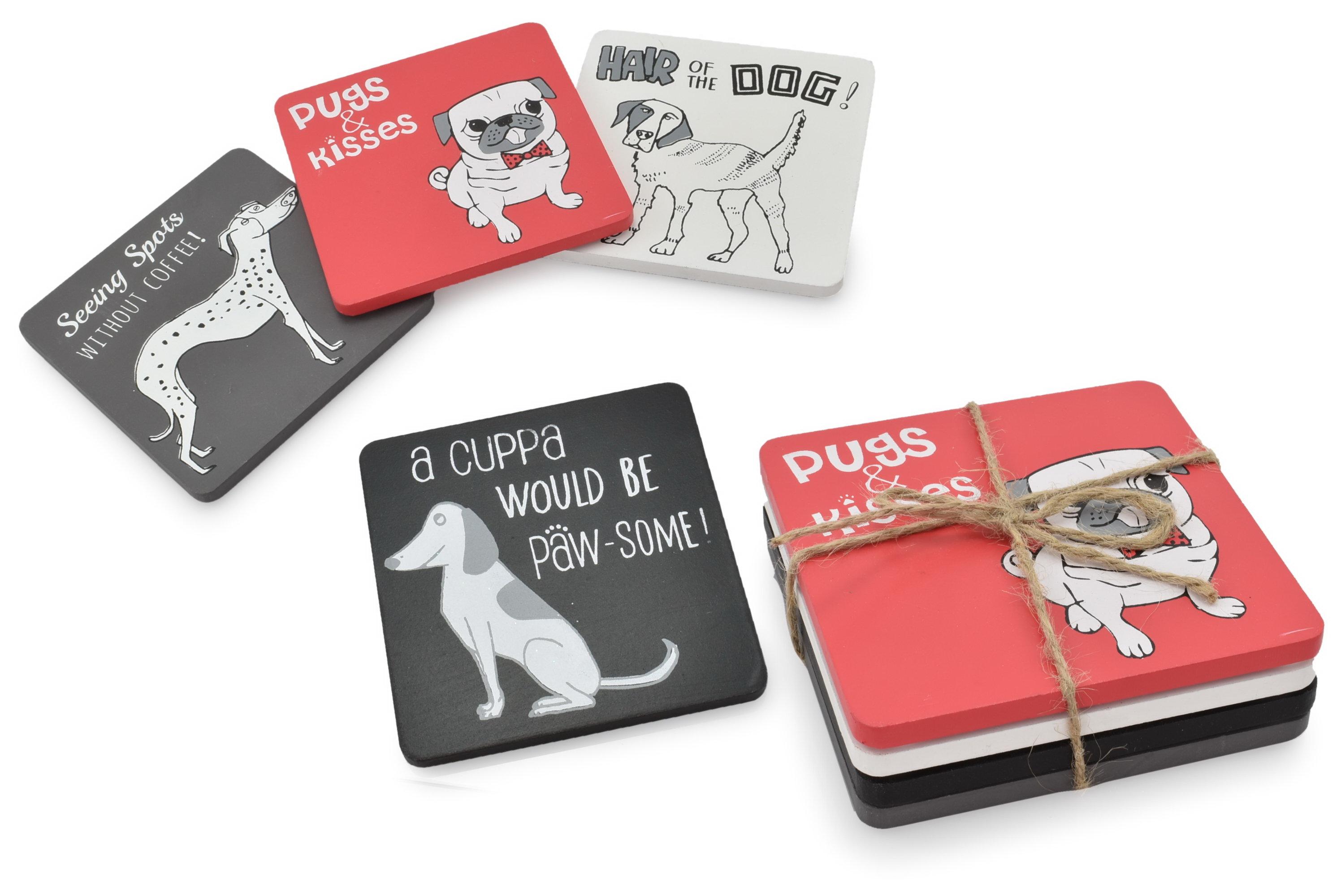 Wooden Coaster Set Dog Design 4 Assorted