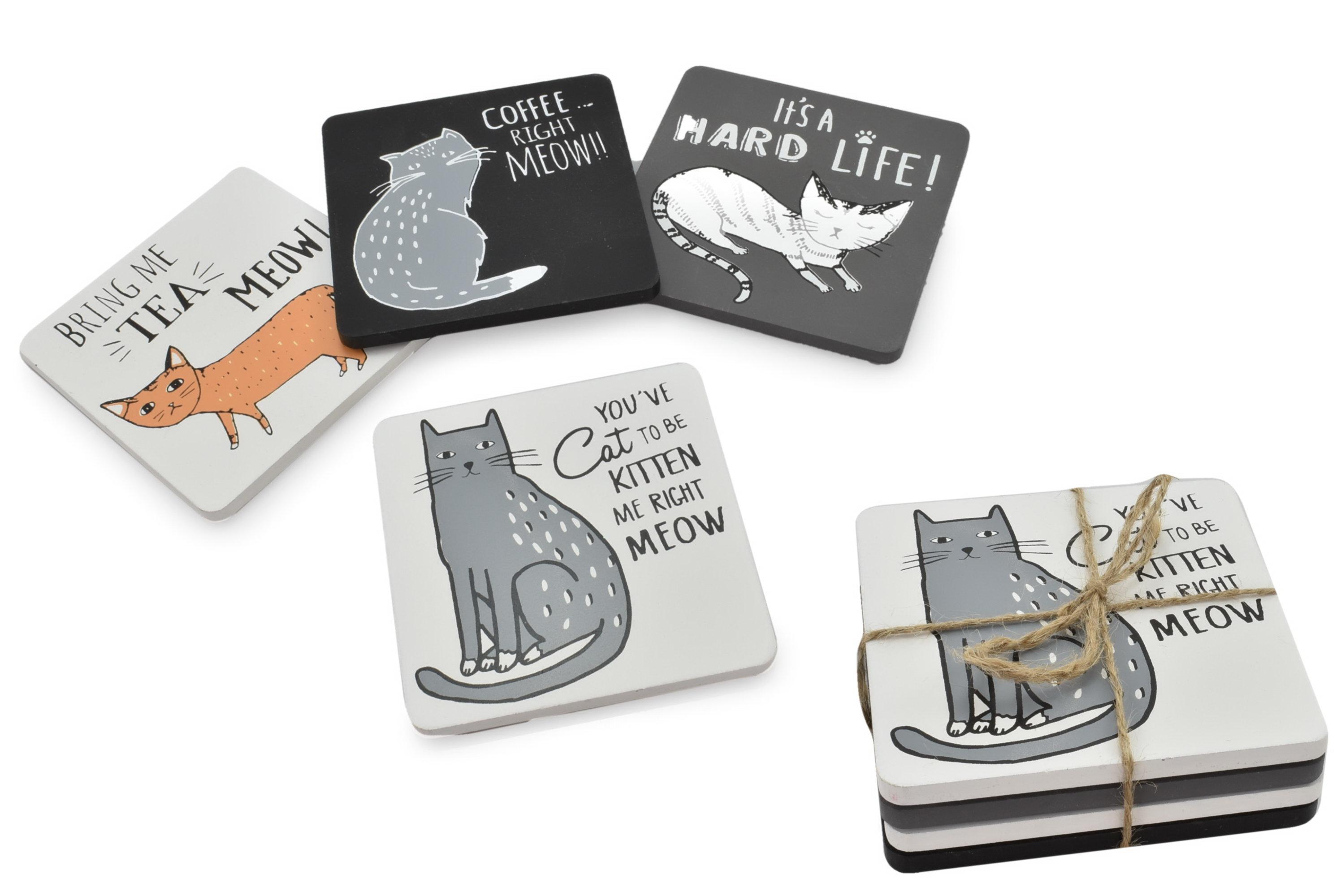 Wooden Coaster Set Cat Design 4 Assorted