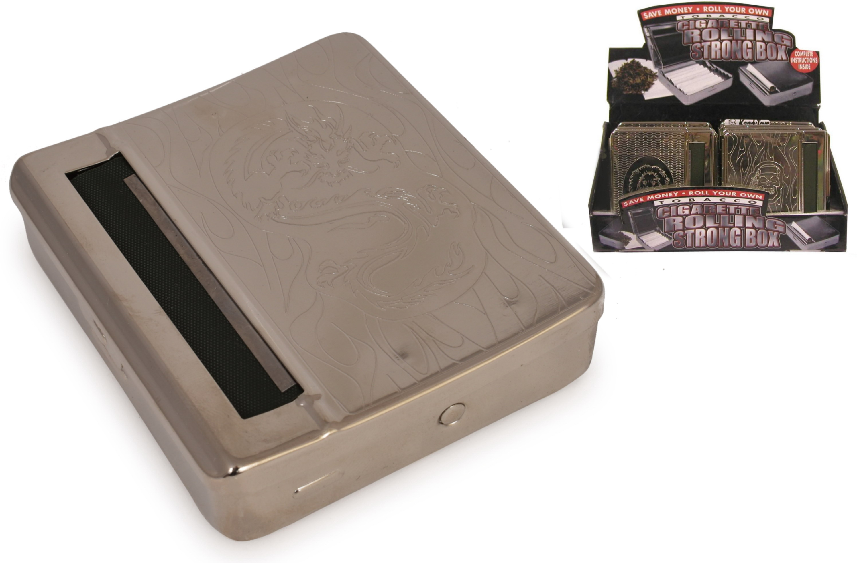 Cigarette Rolling Strong Box With Engraved Design