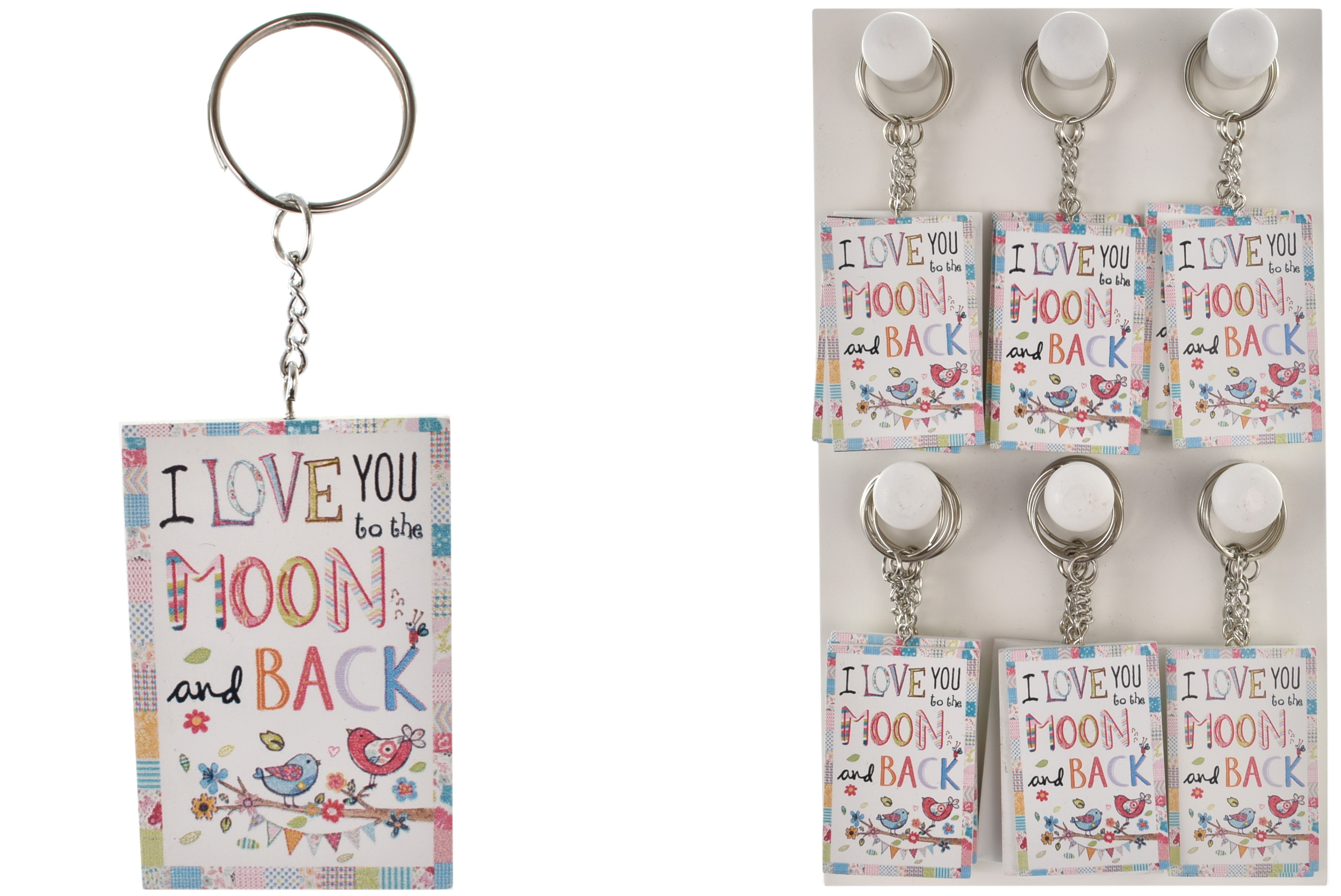 Wooden Keyrings On Display Stand Moon & Back Designs