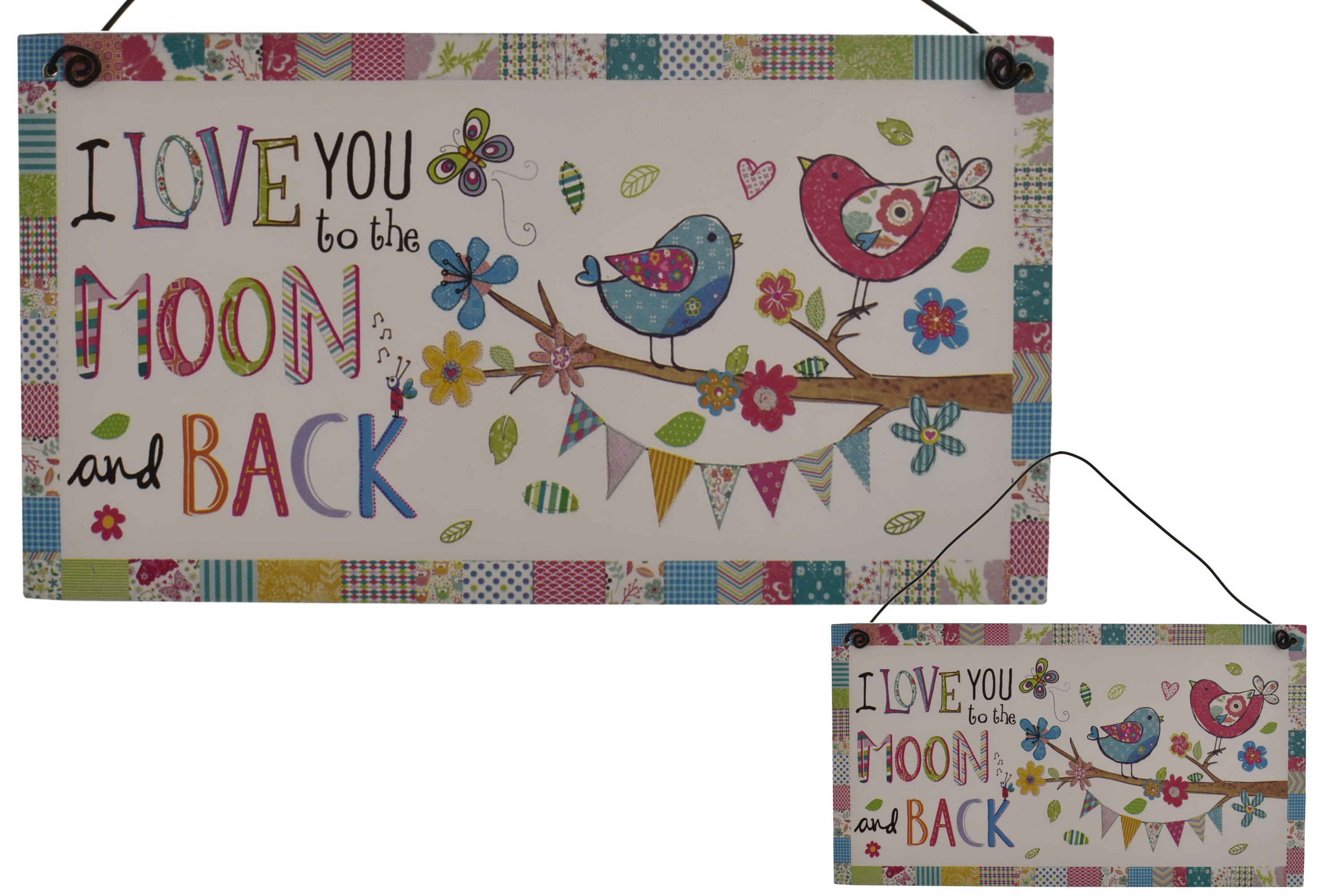 10 x 20cm Wooden Hanging Sign Moon & Back