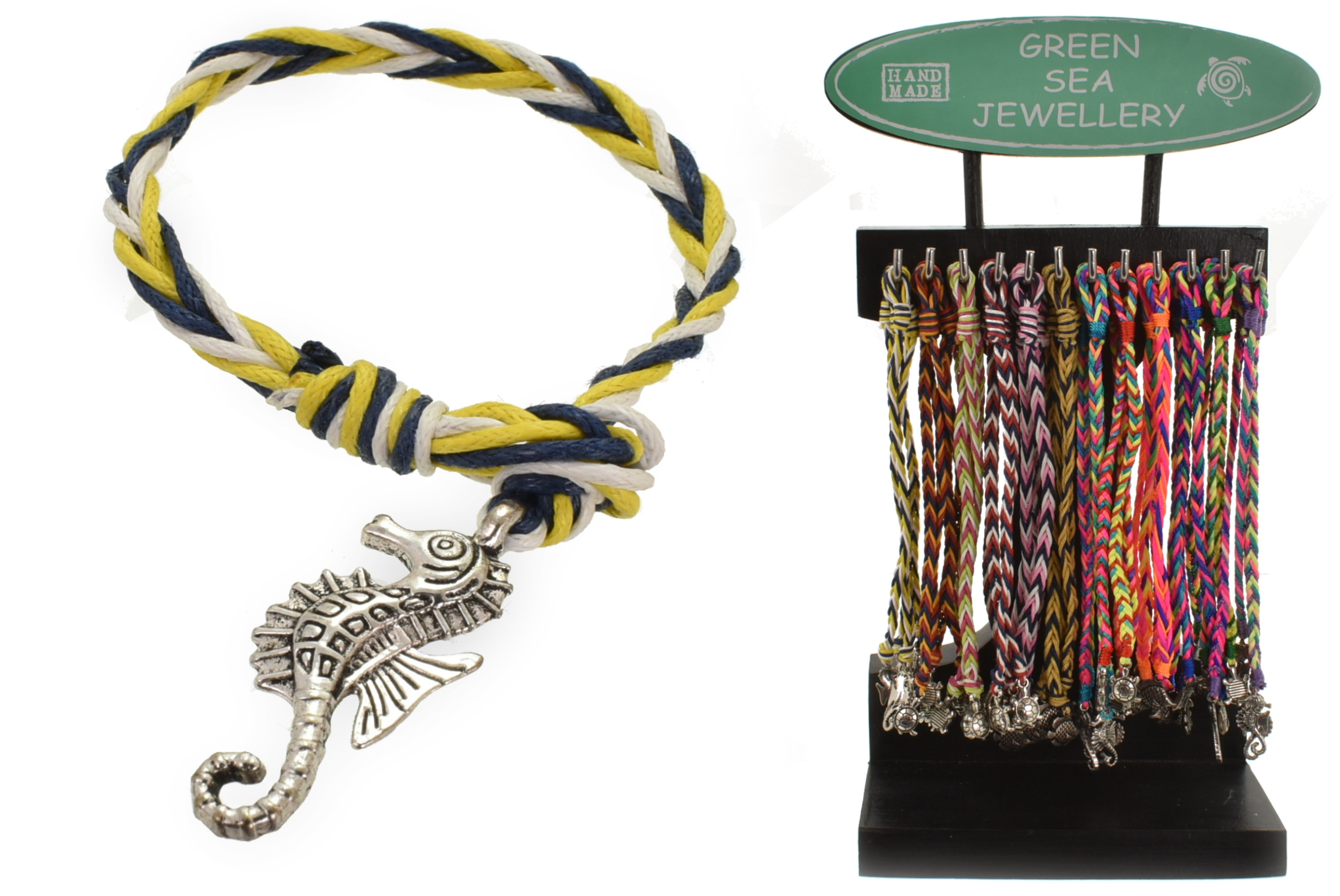 Cotton Lanyard Rope Sea Life Bracelets On Display Stand