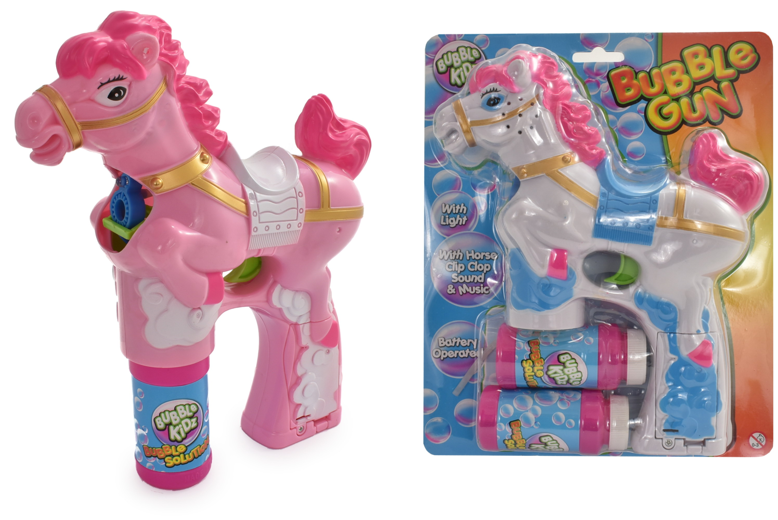 Horse Bubble Gun (2 Tubs) Light & Sound - White & Pink