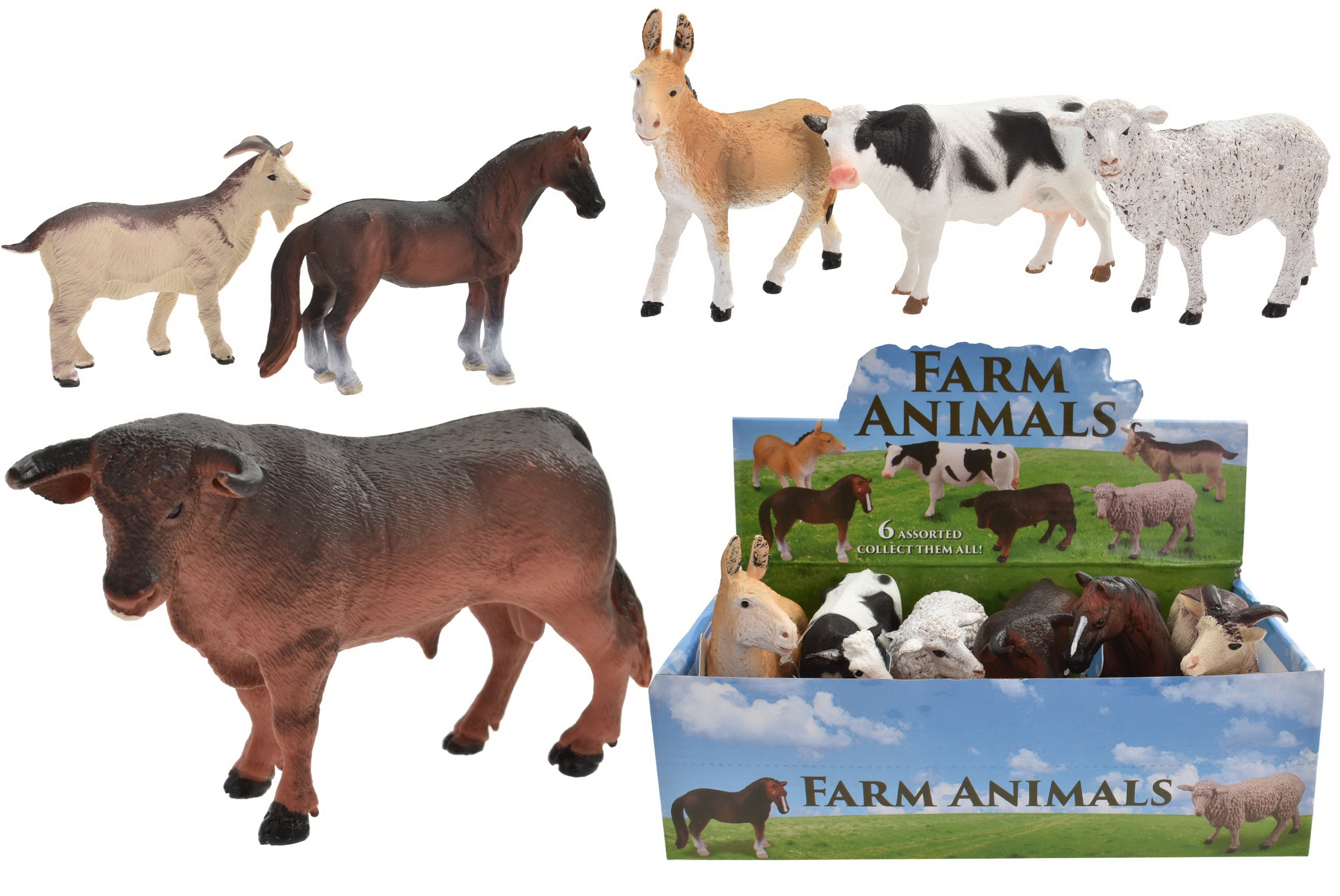 "5.5"" Farm Animals 6 Assorted In Display Box"