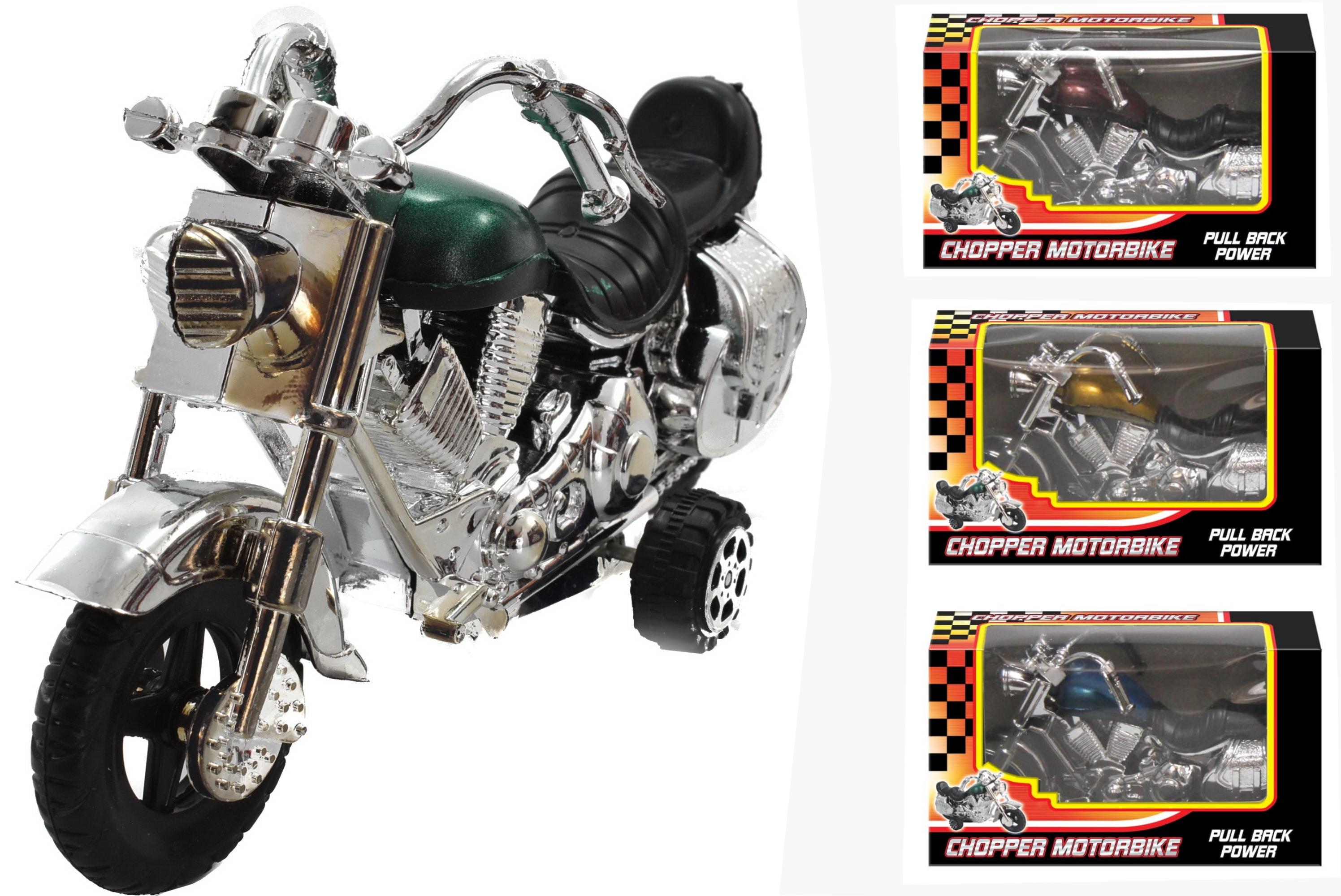 Plastic Pull-Back Chopper Motorbike In W/Box & D/Box