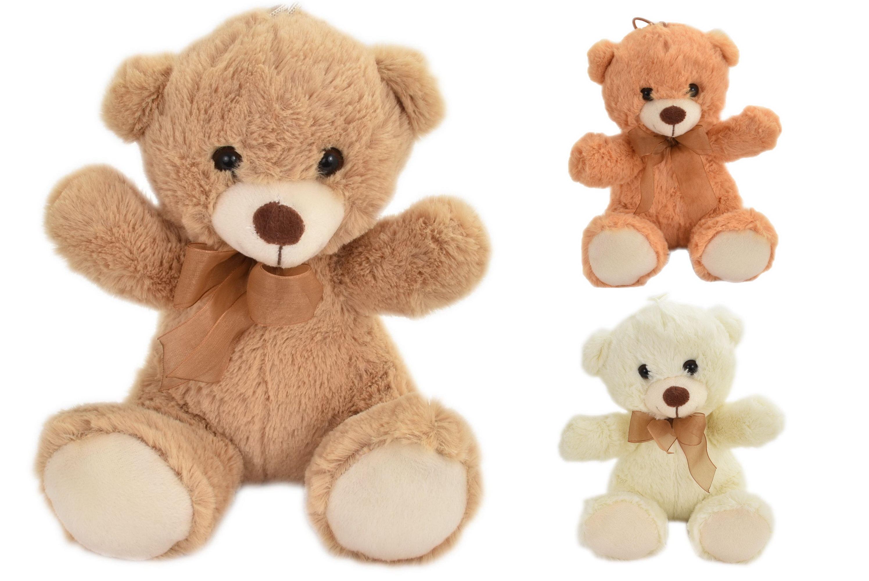 20cm Plush Teddy Bears - 3 Assorted Colours