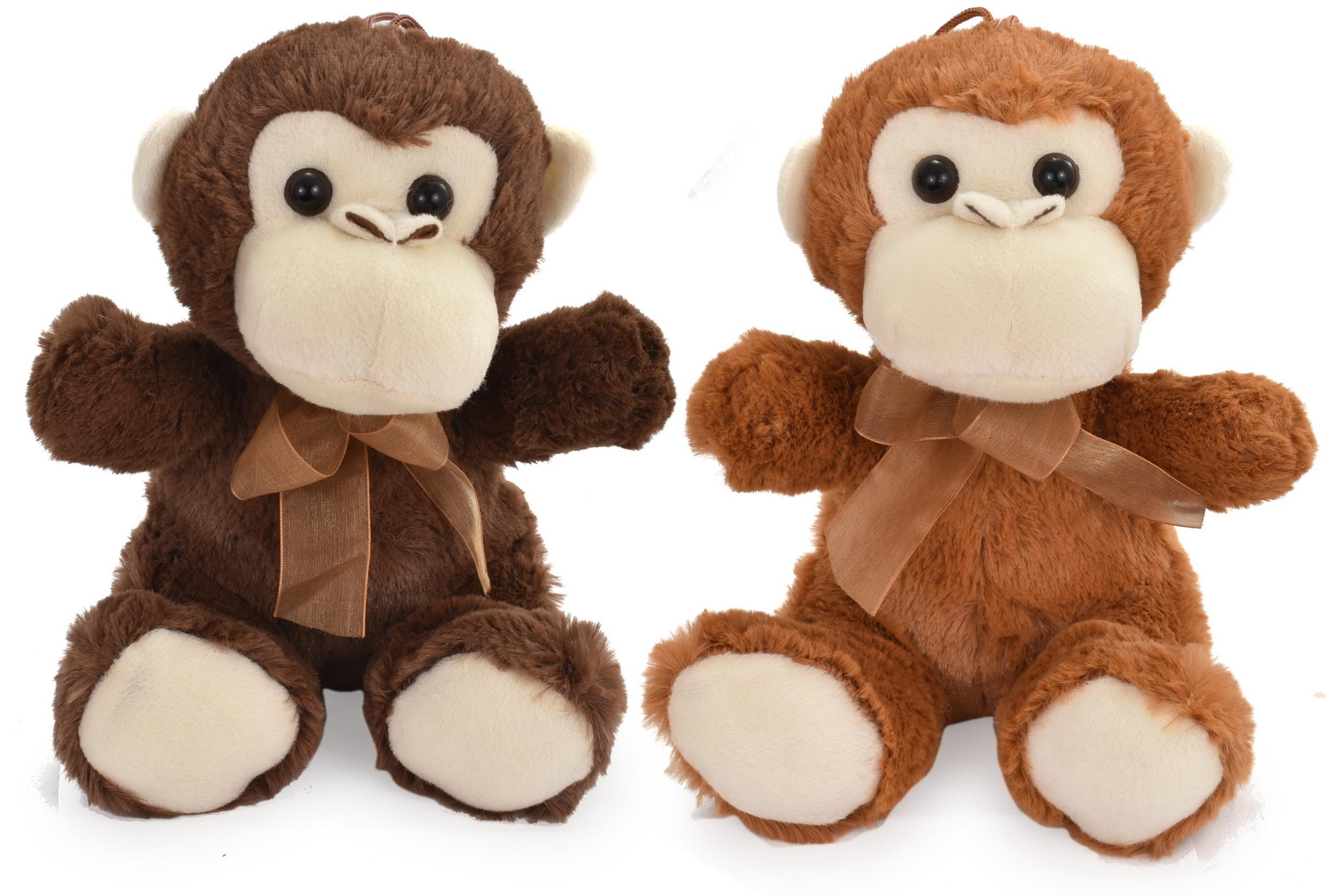 20cm Plush Monkeys - 2 Assorted Colours