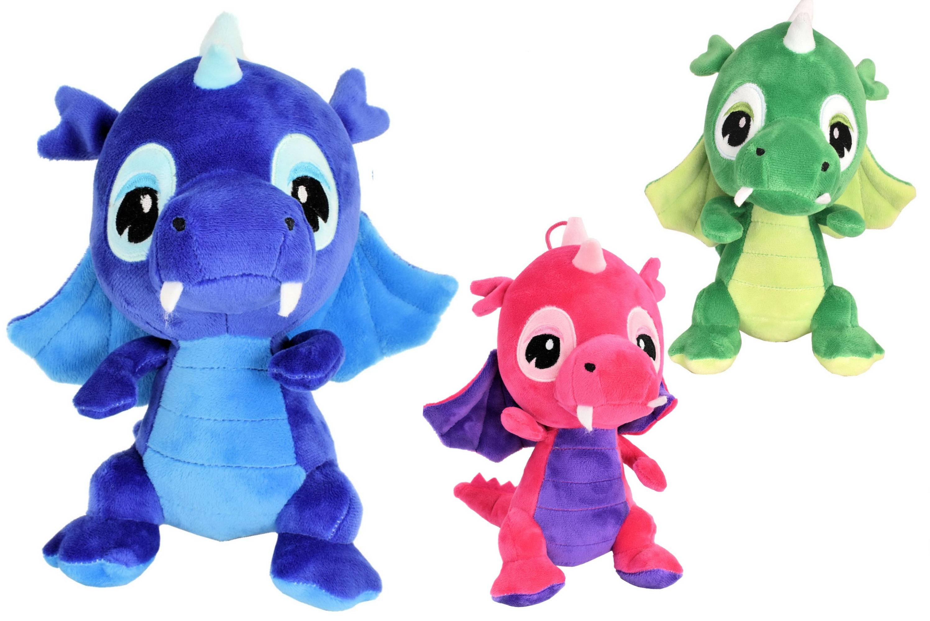 20cm Plush Dragons - 3 Asssorted Colours