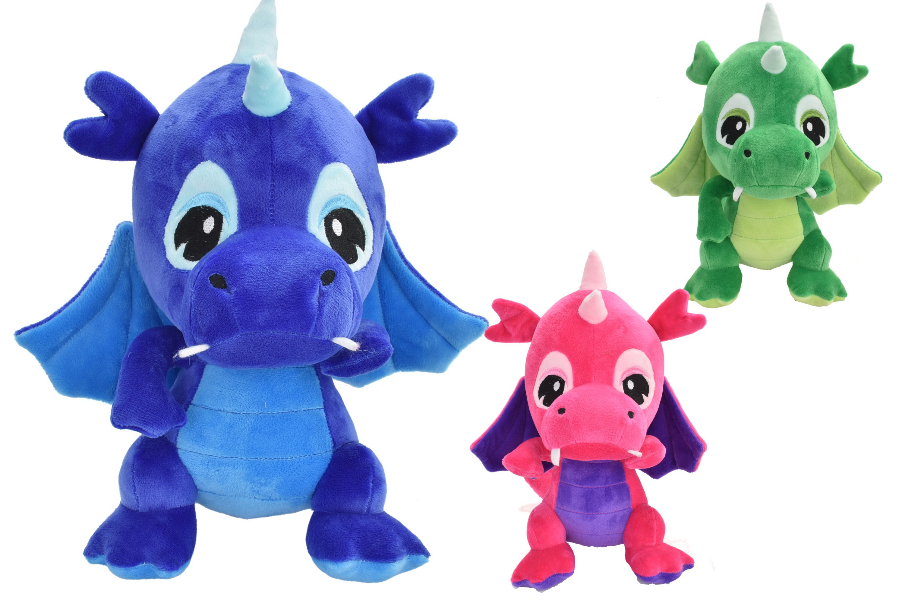 26cm Plush Dragons - 3 Assorted Colours