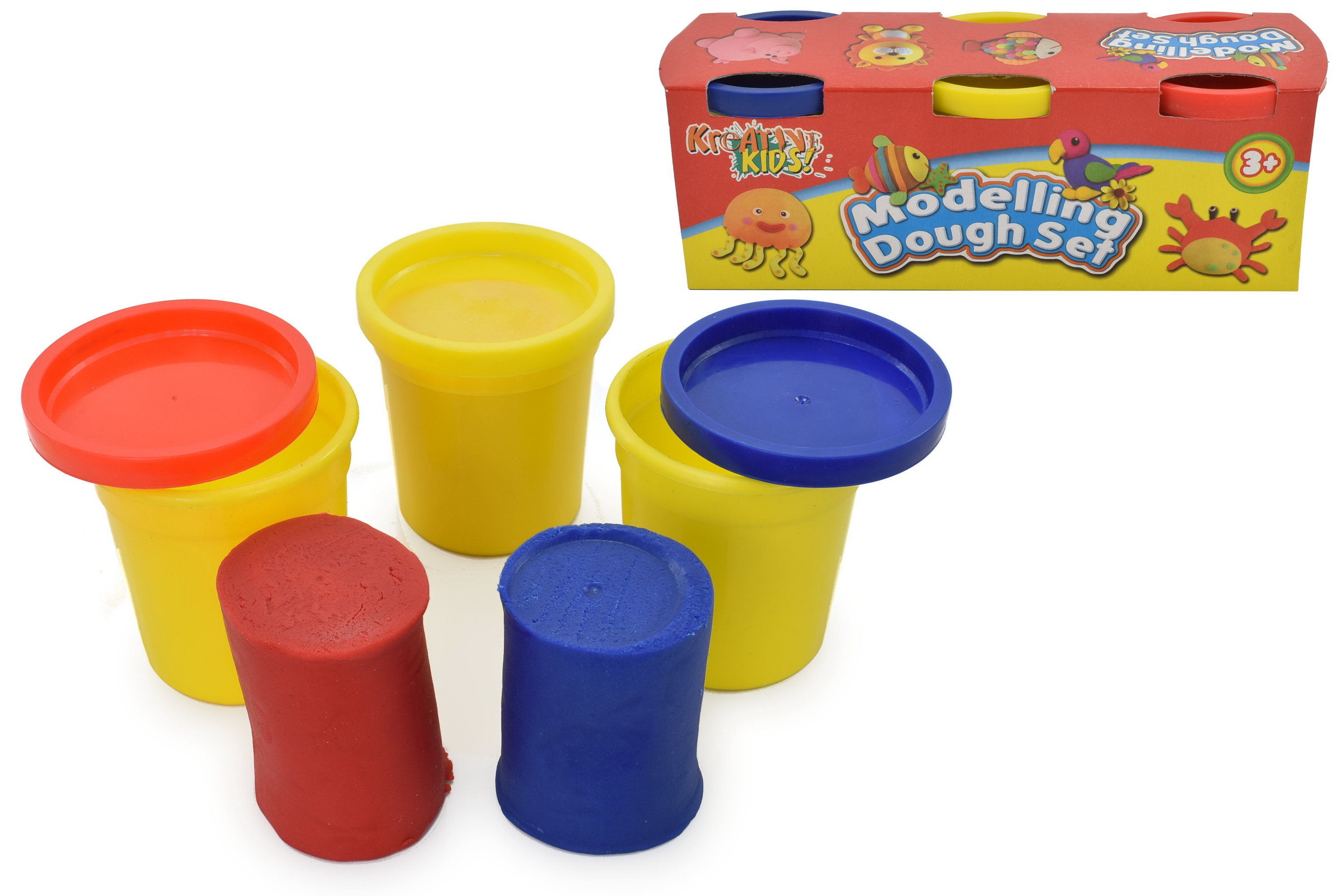 3 Pack Modelling Dough Tubs (3oz) In Colour Box