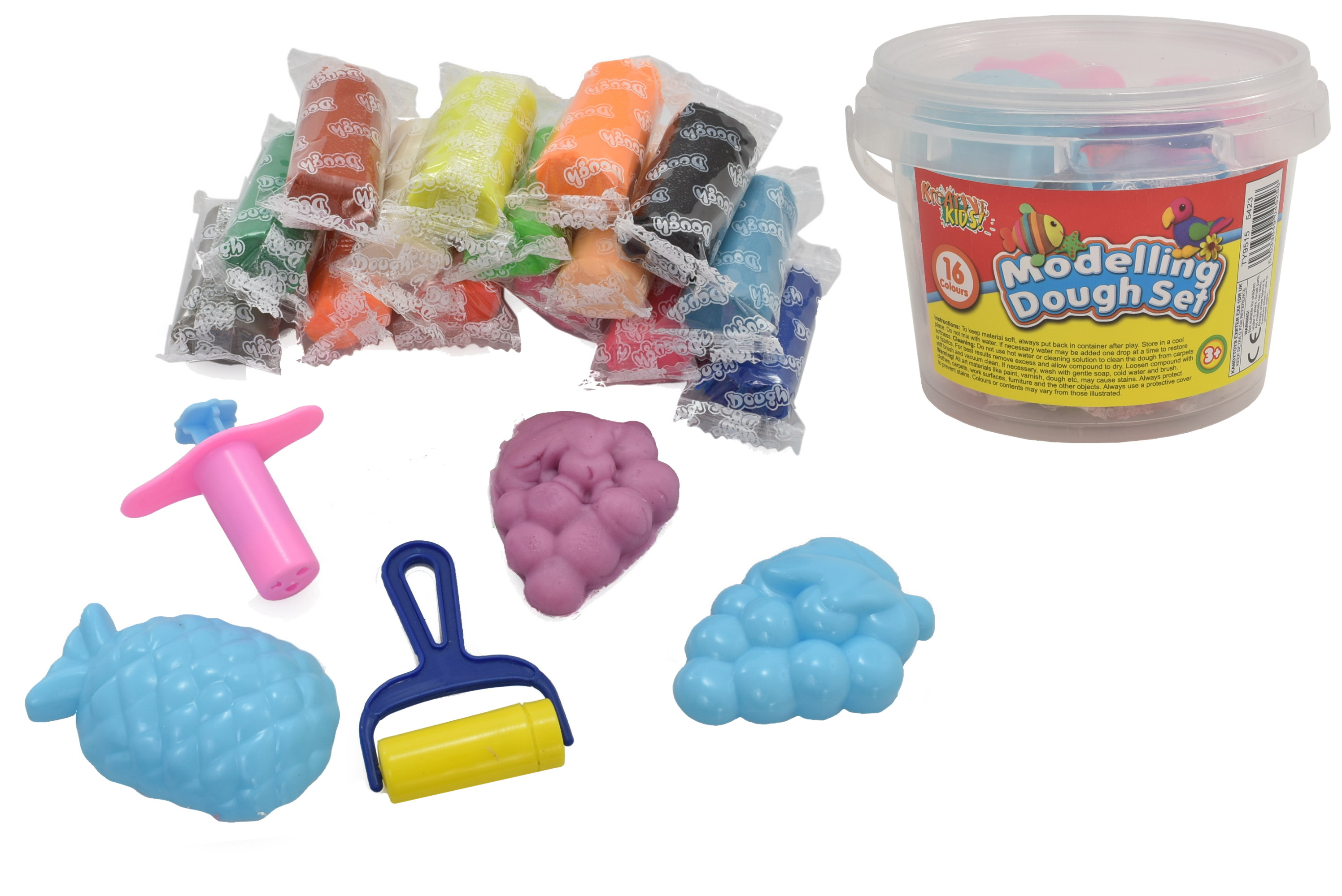 16pcs Modelling Dough & 4pc Moulds In Tub