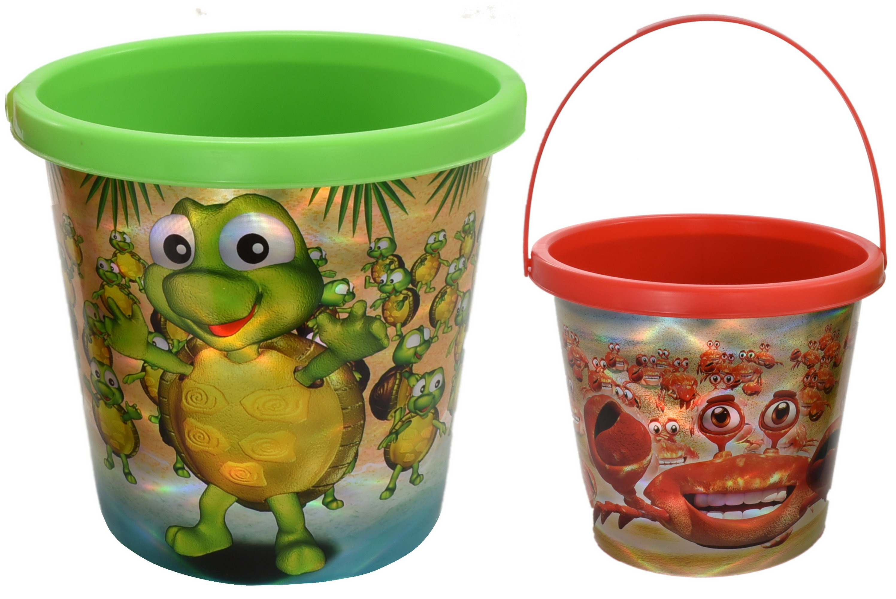 "7"" Crab & Turtle (Assorted) Print Buckets"