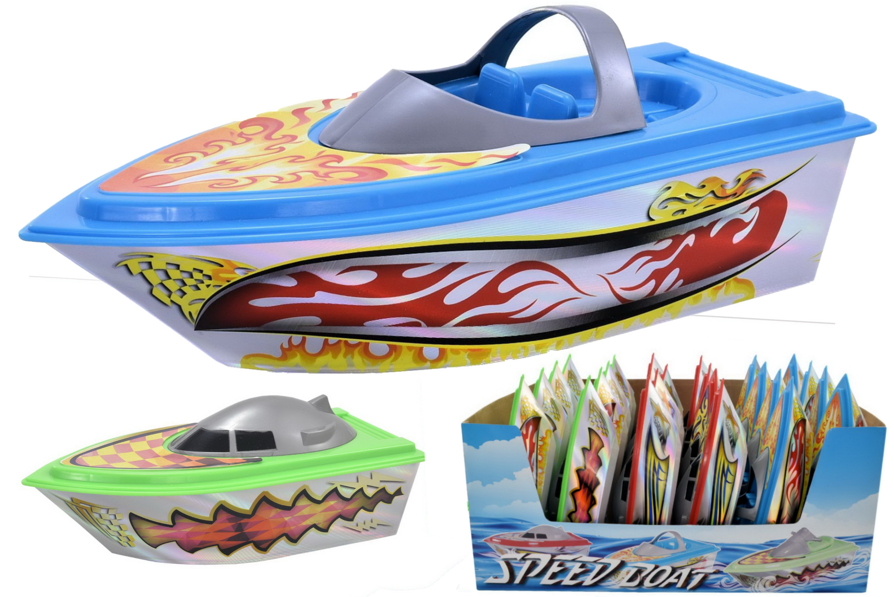 Plastic Boats With Metallic Print 2 Assorted In Dbx