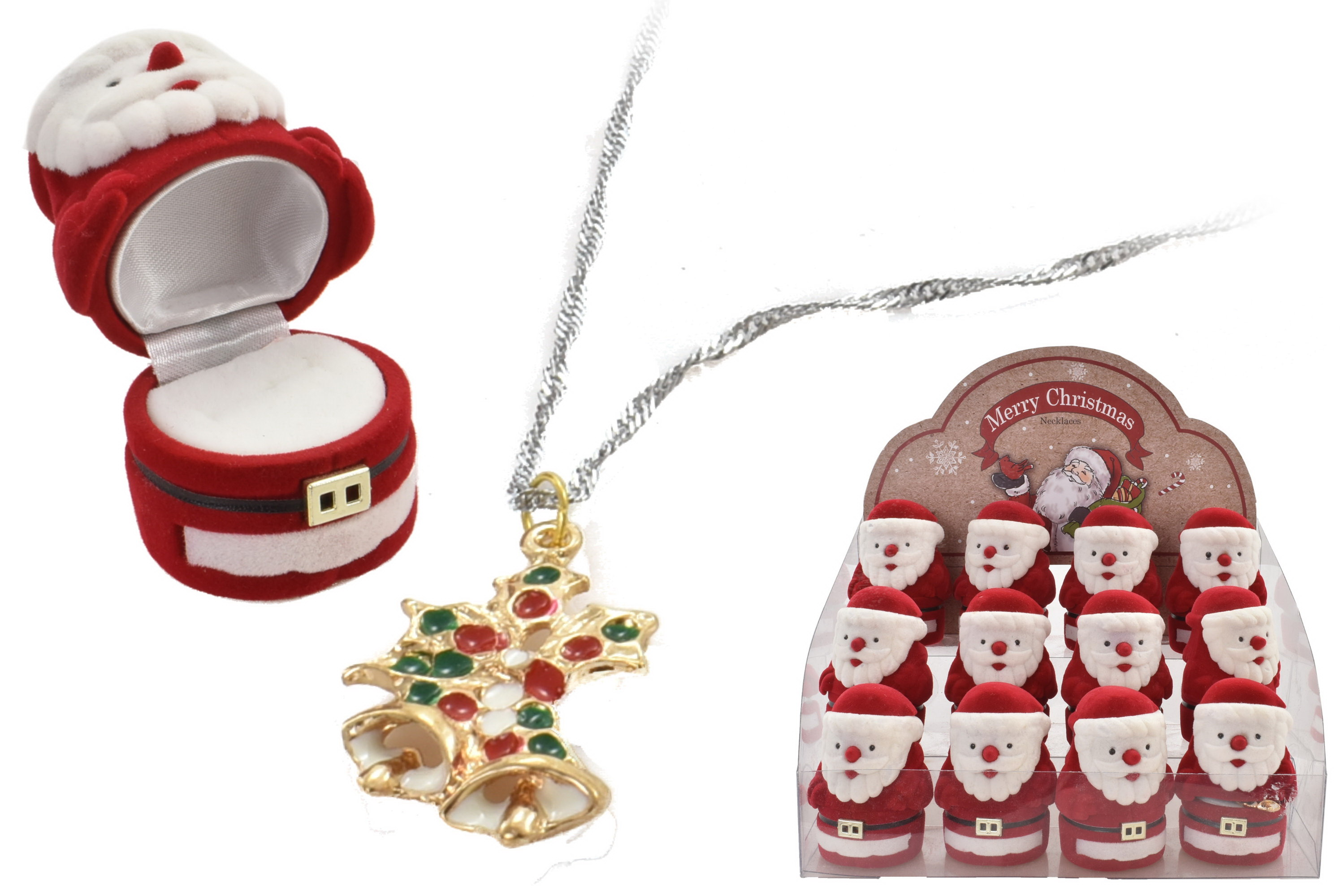 Christmas Necklace In Santa Flocked Box (4 Assorted)