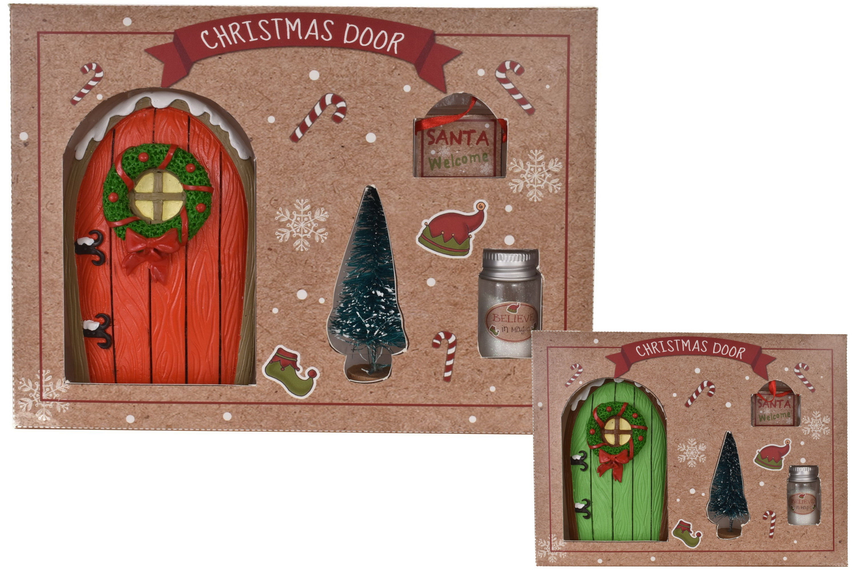 Christmas Elf Door Set Of 4 In Window Gift Box
