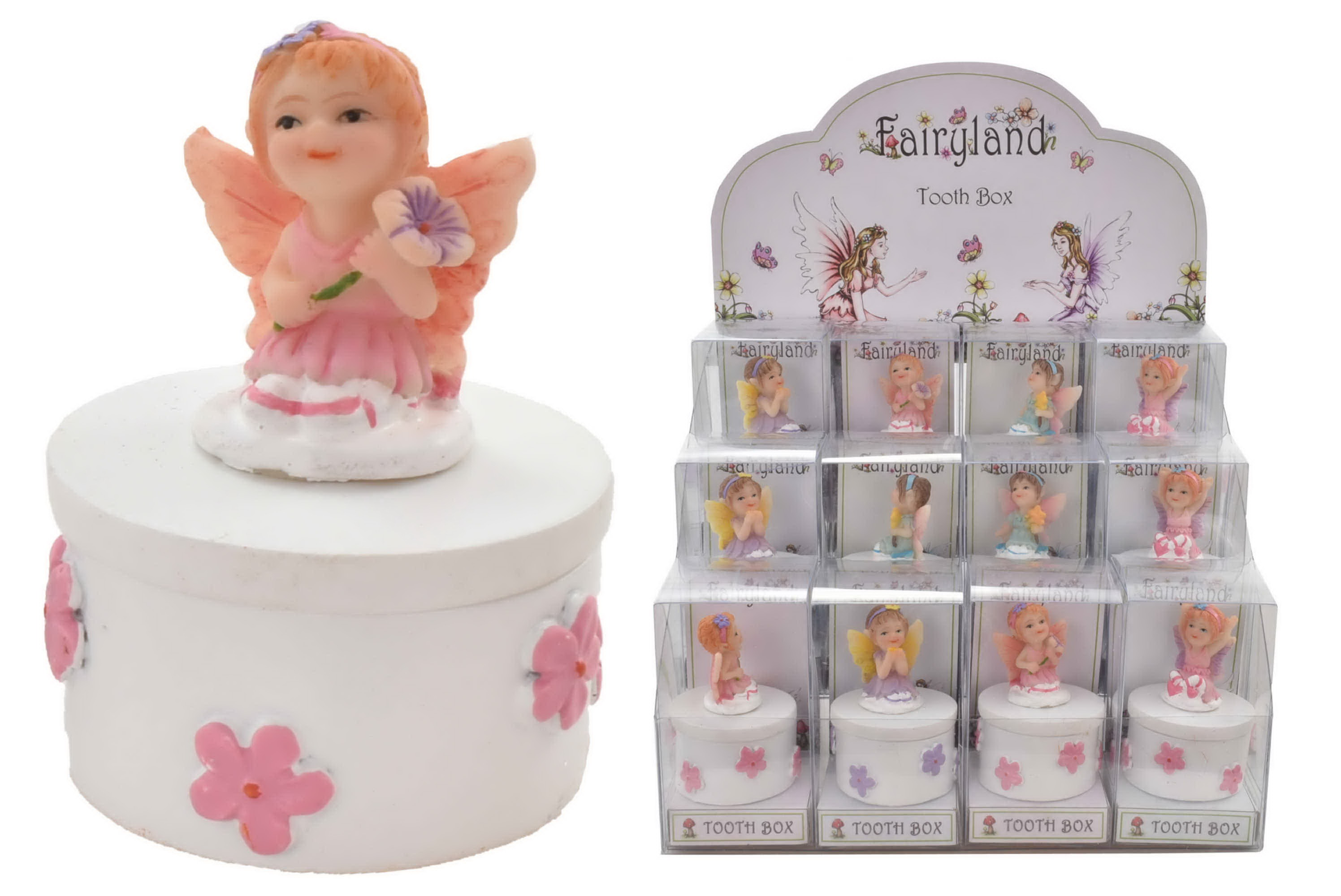 Fairy Tooth Box (4 Assorted) In Pvc Box & Display Box
