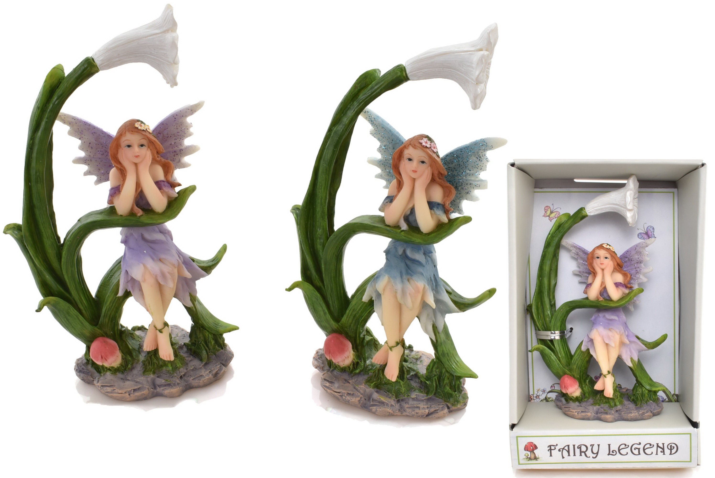 Fairy Figurine Sat On Flower (2 Assorted) In Gift Box