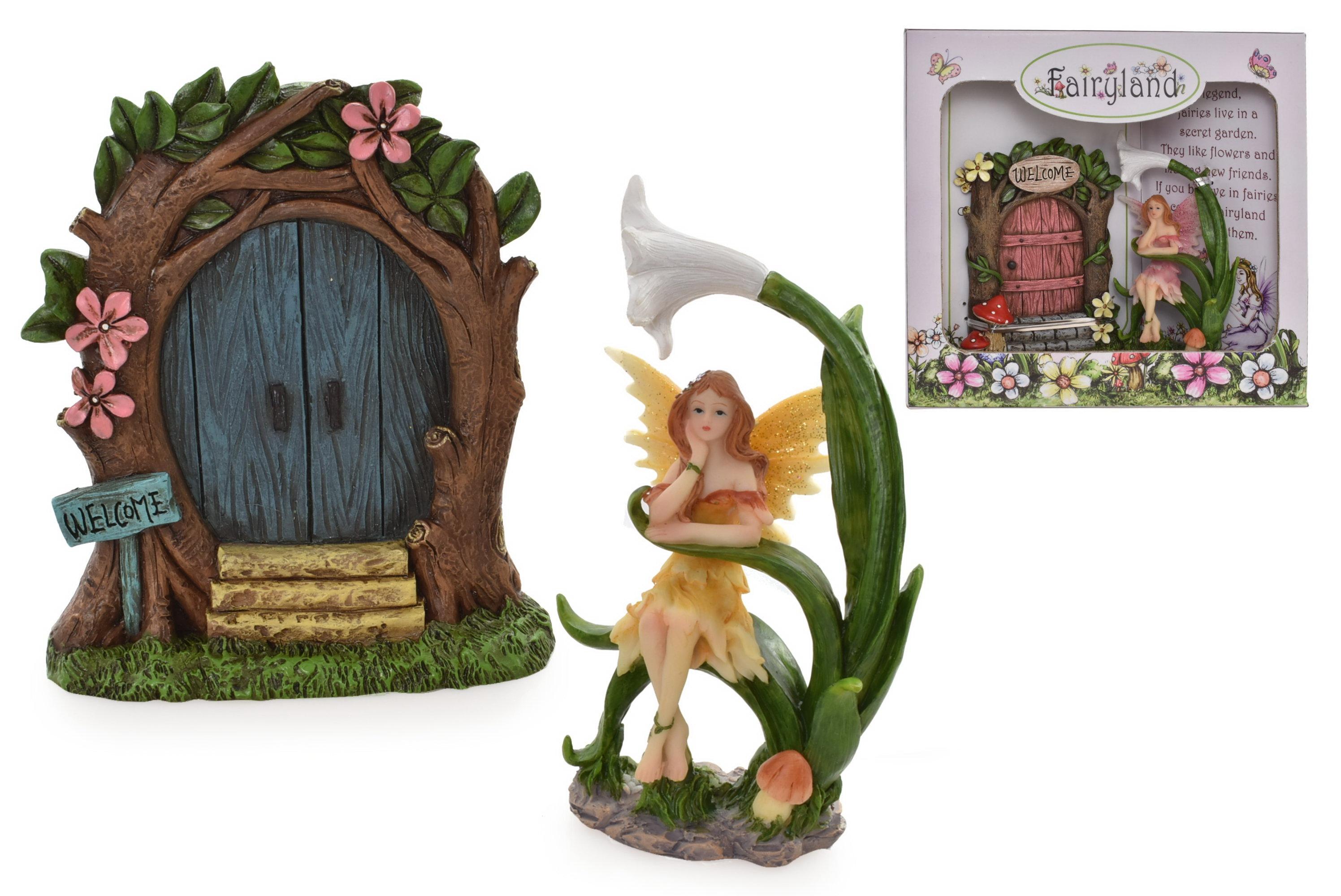 Fairy Door With Fairy (2 Assorted) In Window Gift Box
