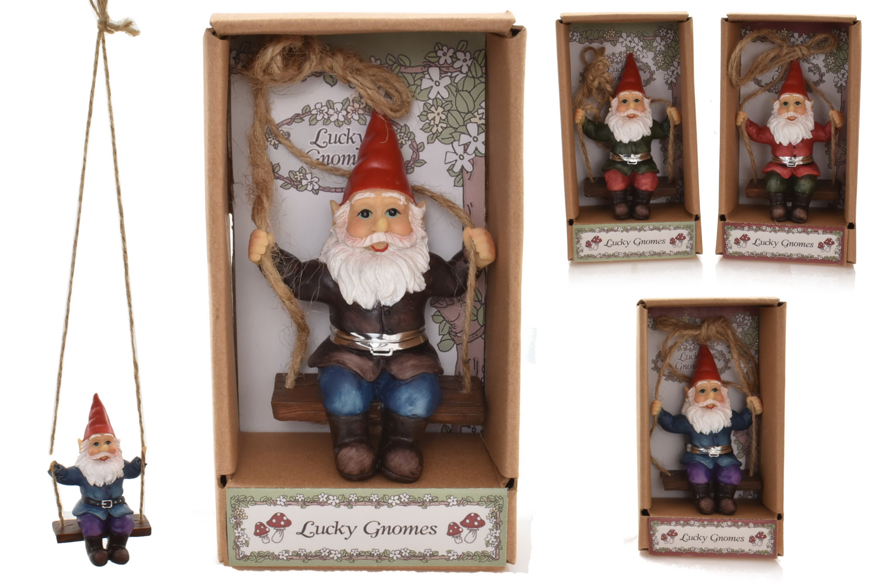 Poly Gnome Figurine On Swing (4 Assorted) In Gift Box