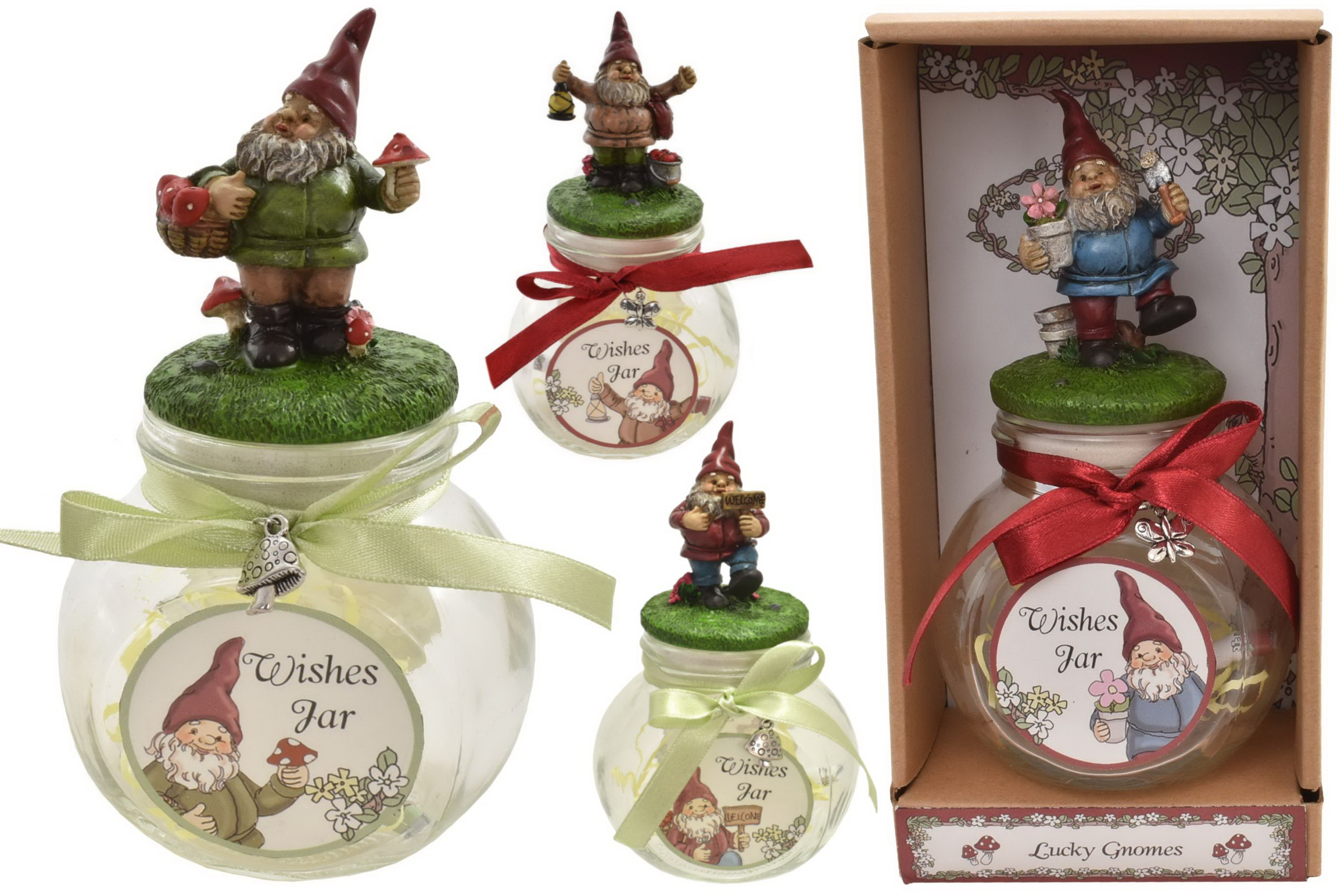 Gnome On Wish Jar (4 Assorted) In Gift Box