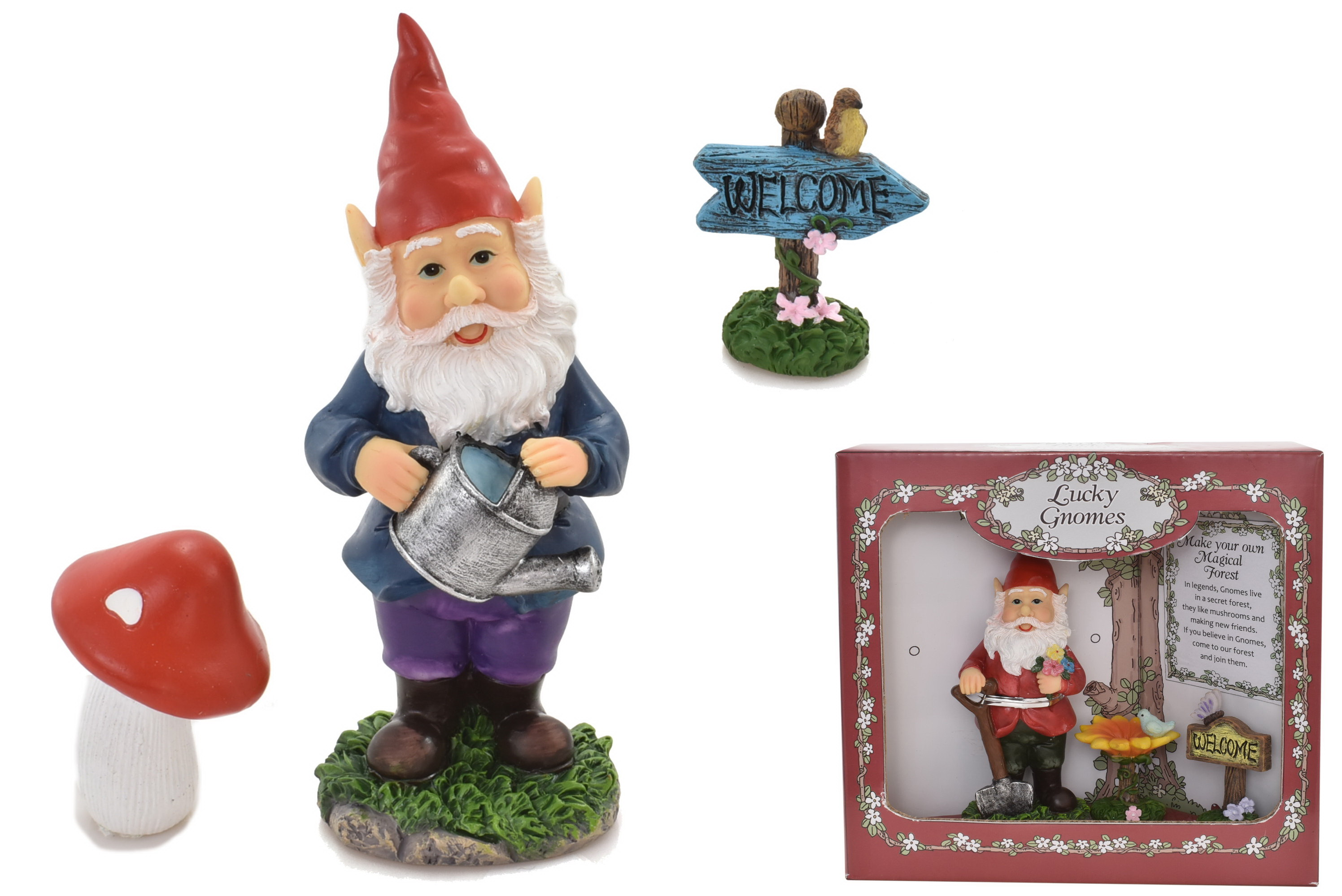 Gnome Figurine & Accessory Set (2 Assorted)