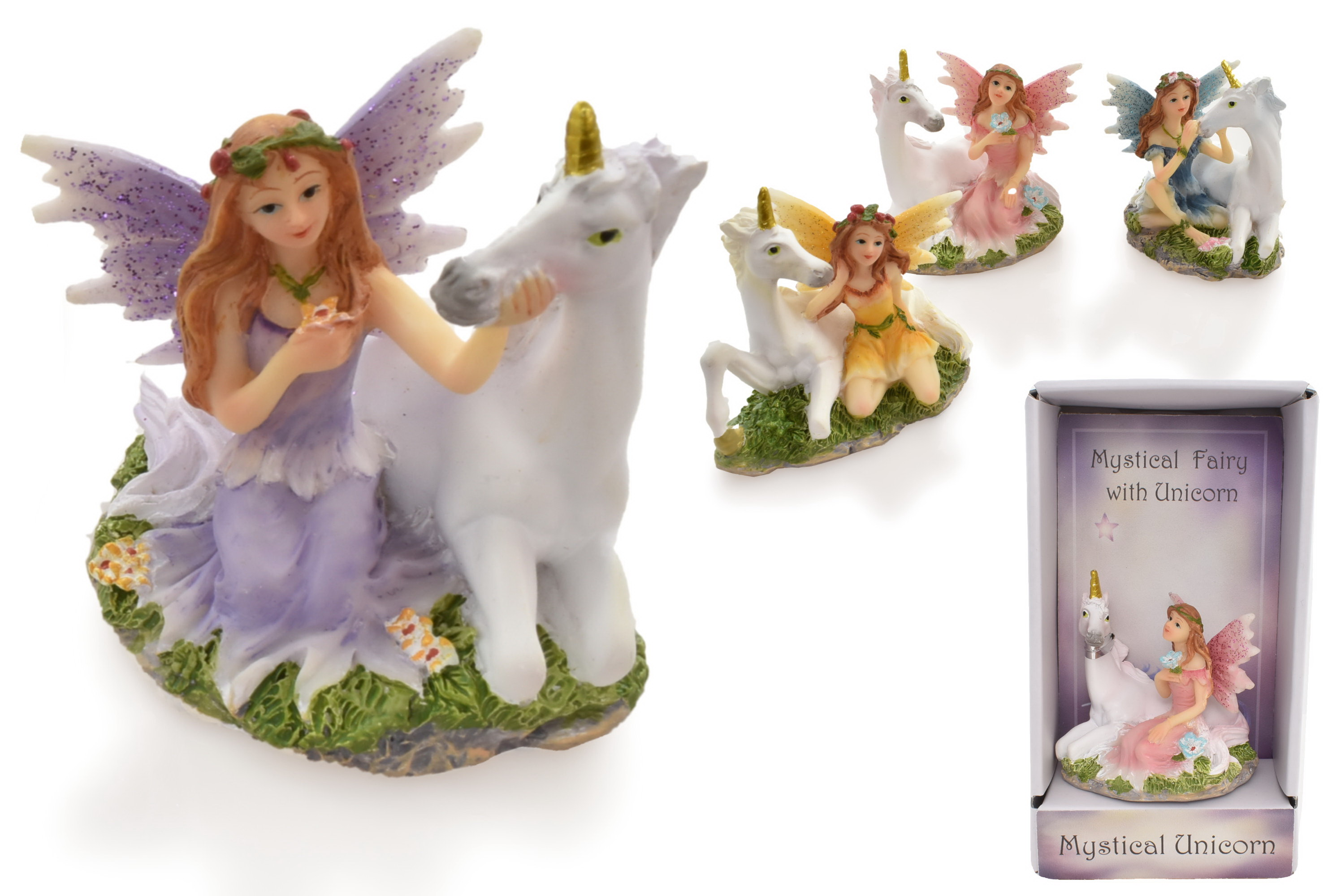 Unicorn & Fairy Figurine (4 Assorted) In Gift Box
