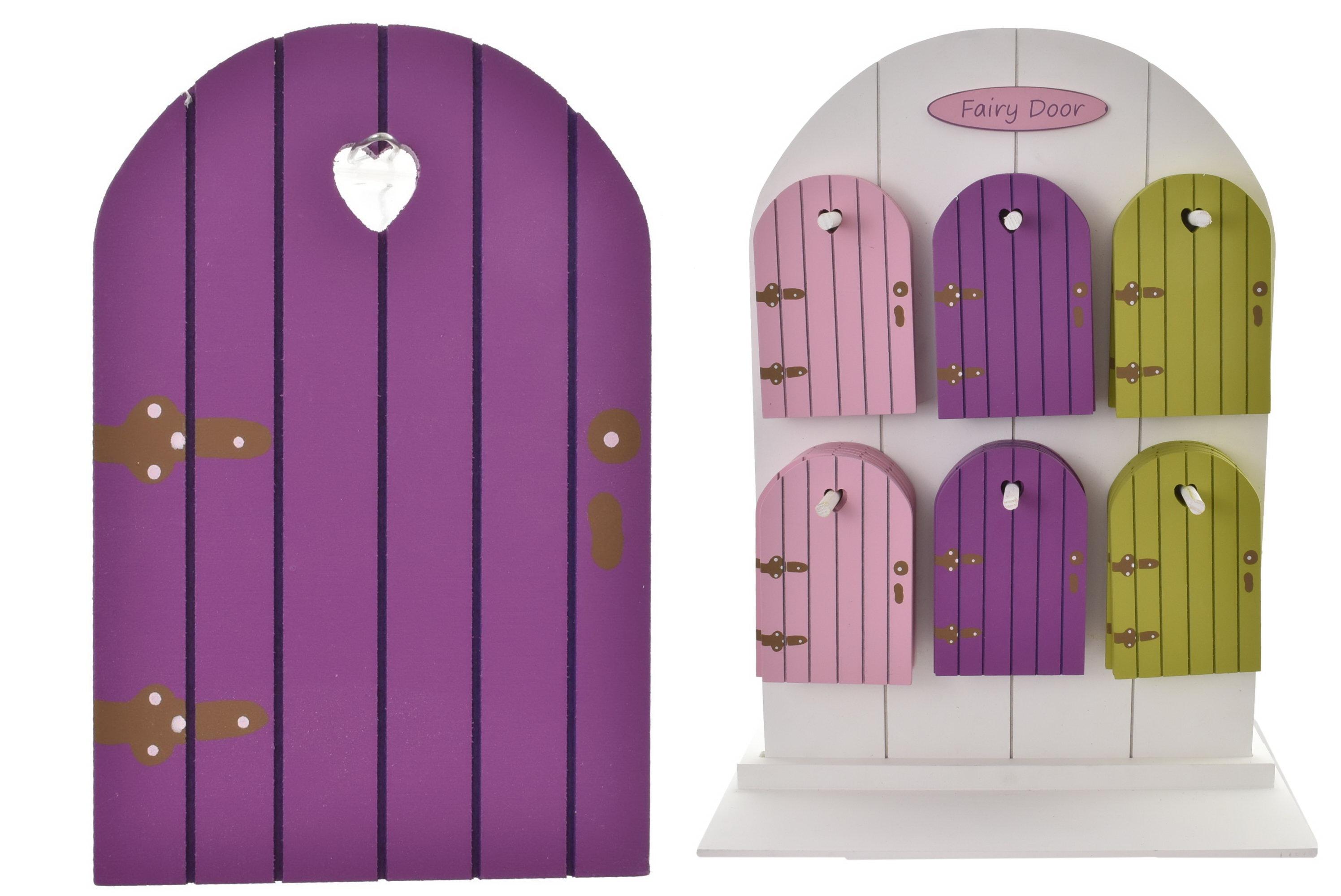 Wooden Fairy Door 13cm On Display Stand