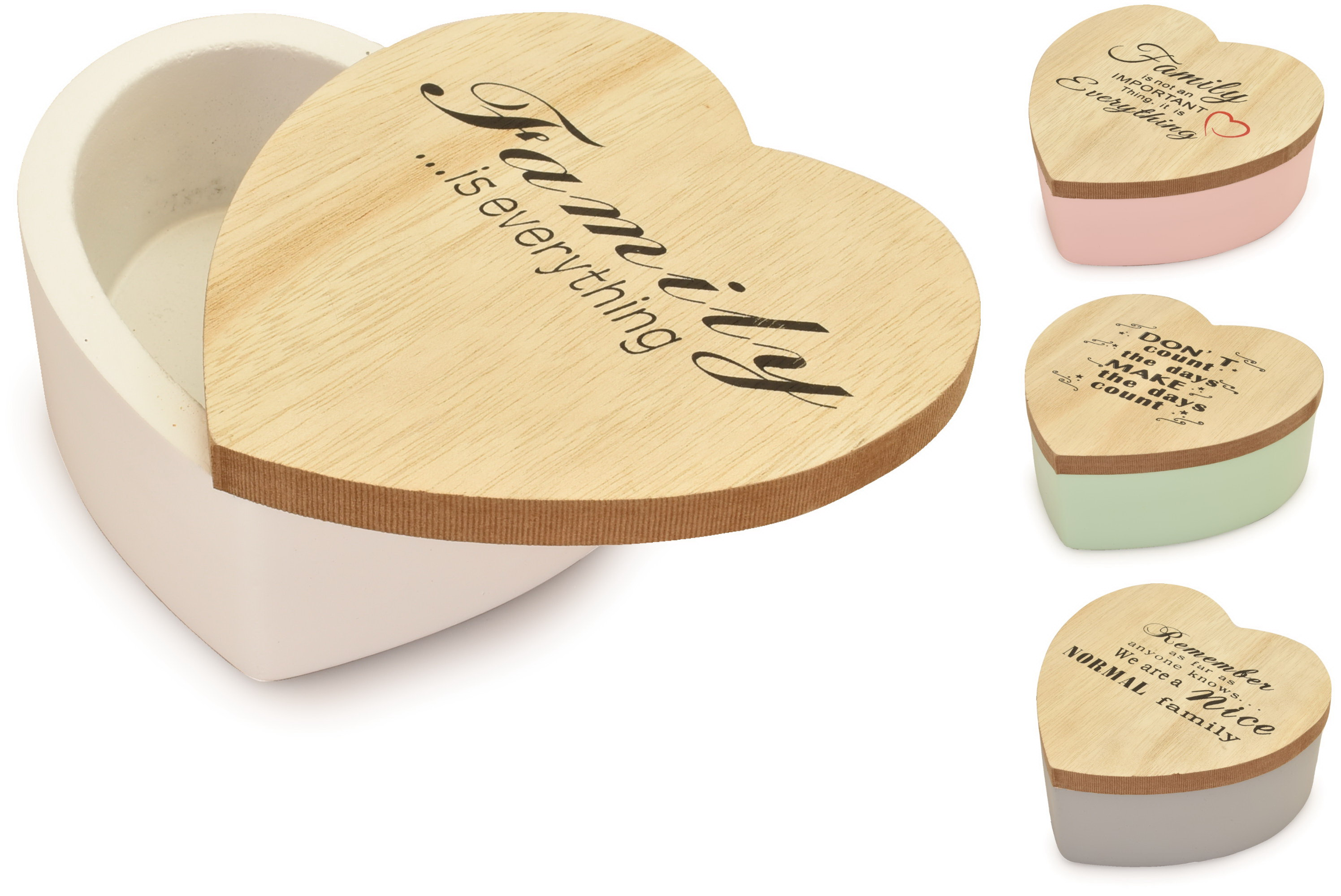 Wooden Heart Box With Lid 12cm Assorted Designs