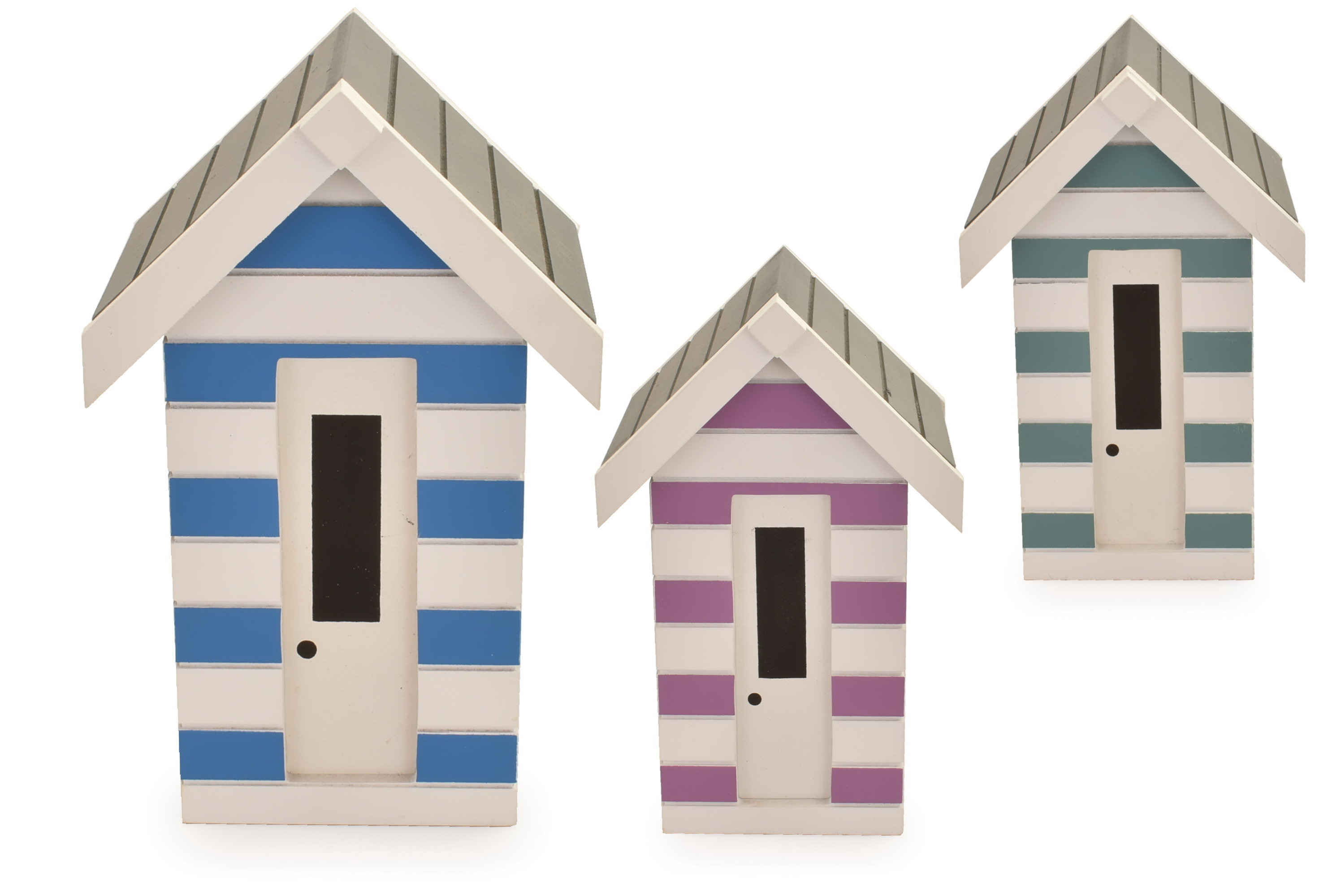 Wooden Beach Hut Money Box 3 Assorted