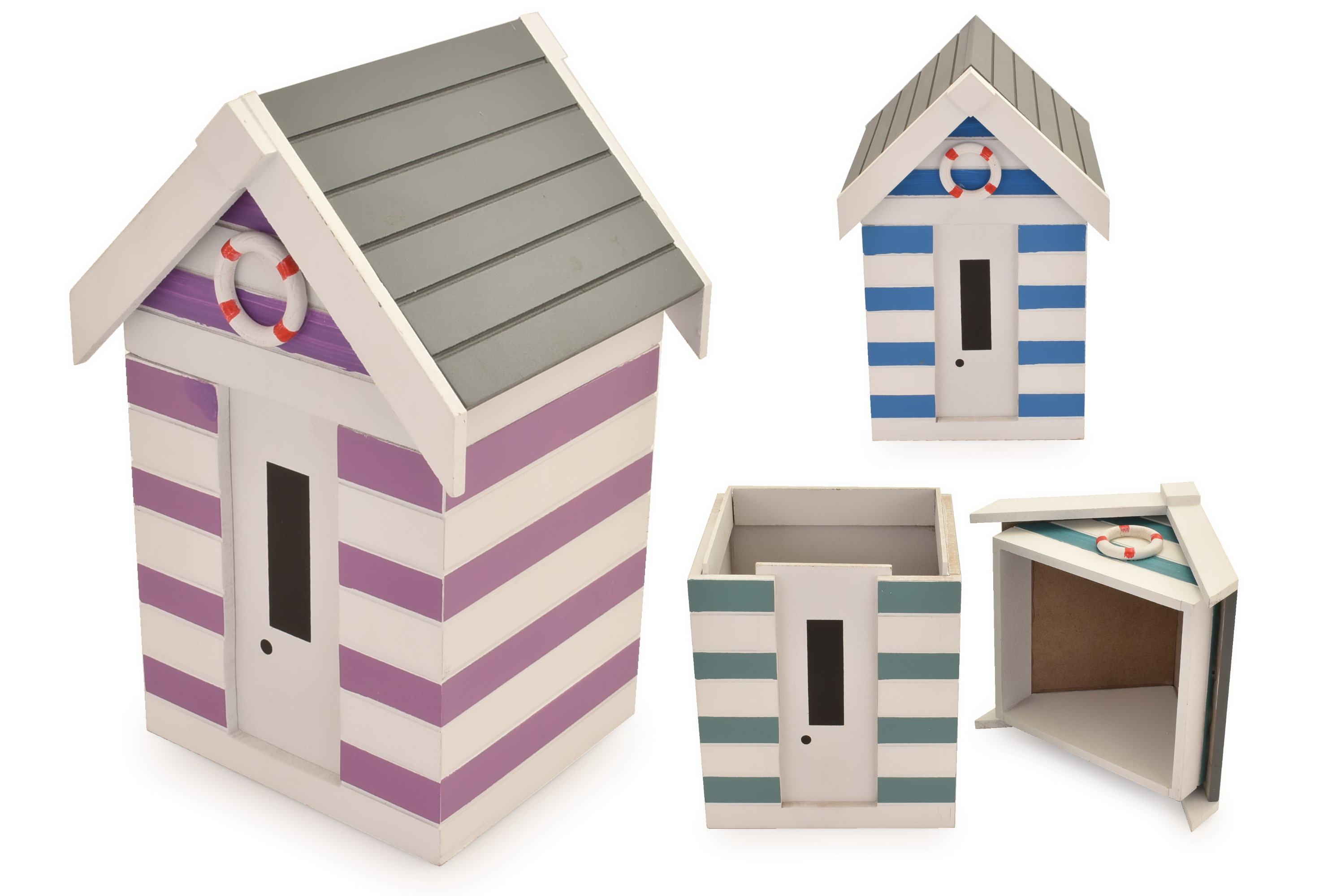 Wooden Beach Hut Storage Pot 3 Assorted