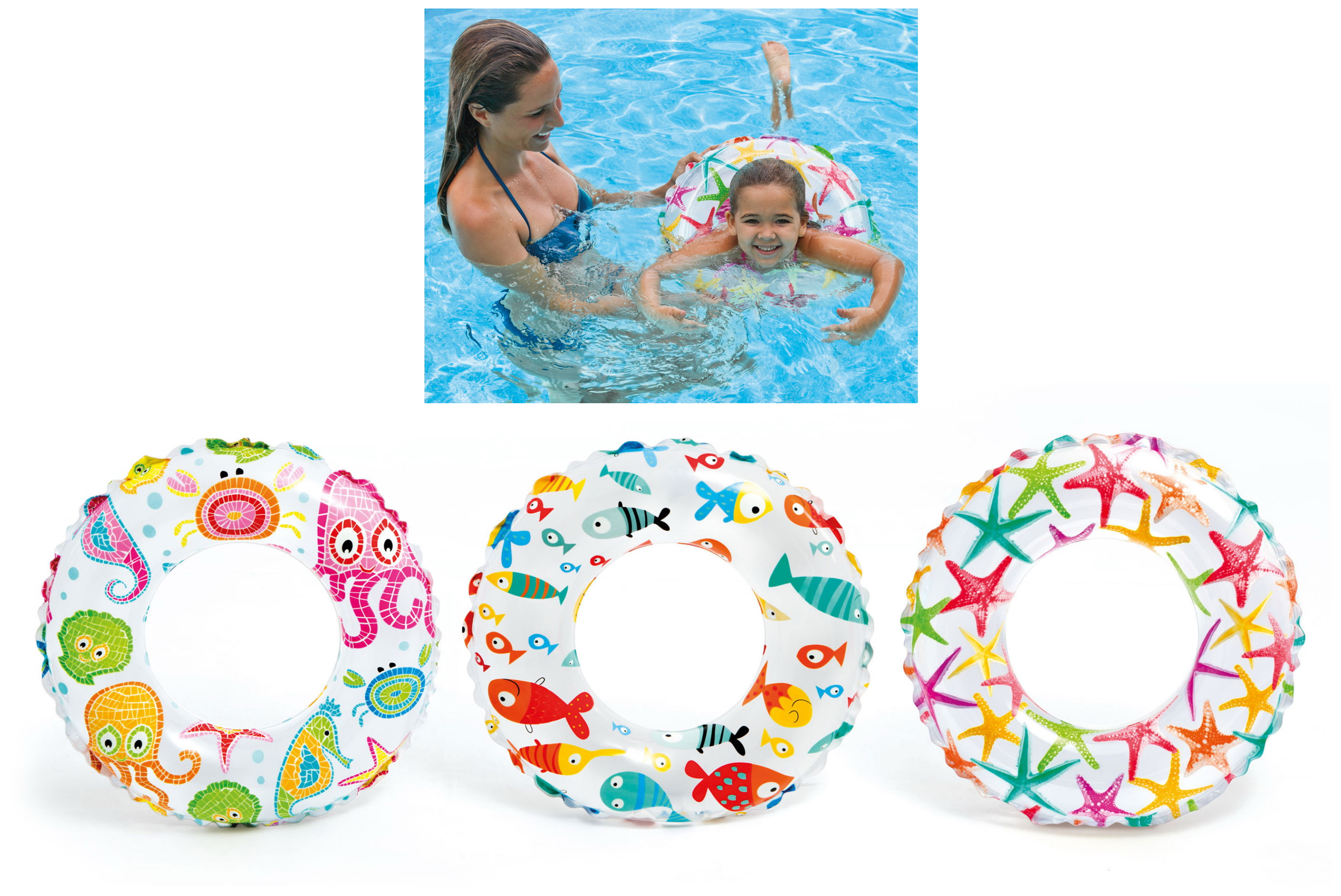 "20"" Lively Print Swim Ring Ages 3-6yrs (3 Asst) Polybag"