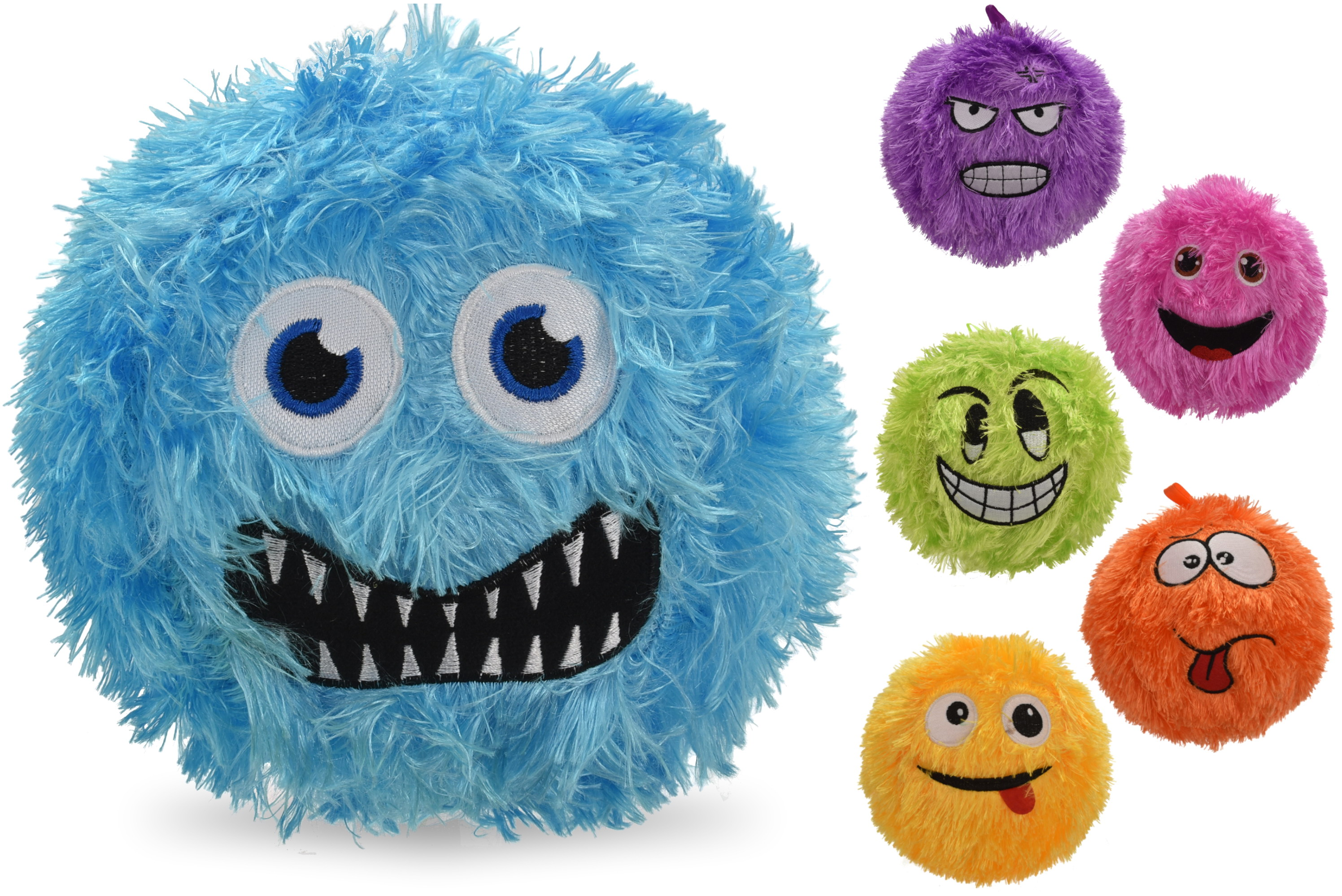 "6"" Fuzzy Face Balls - Deflated (6 Assorted) In Net Bag"