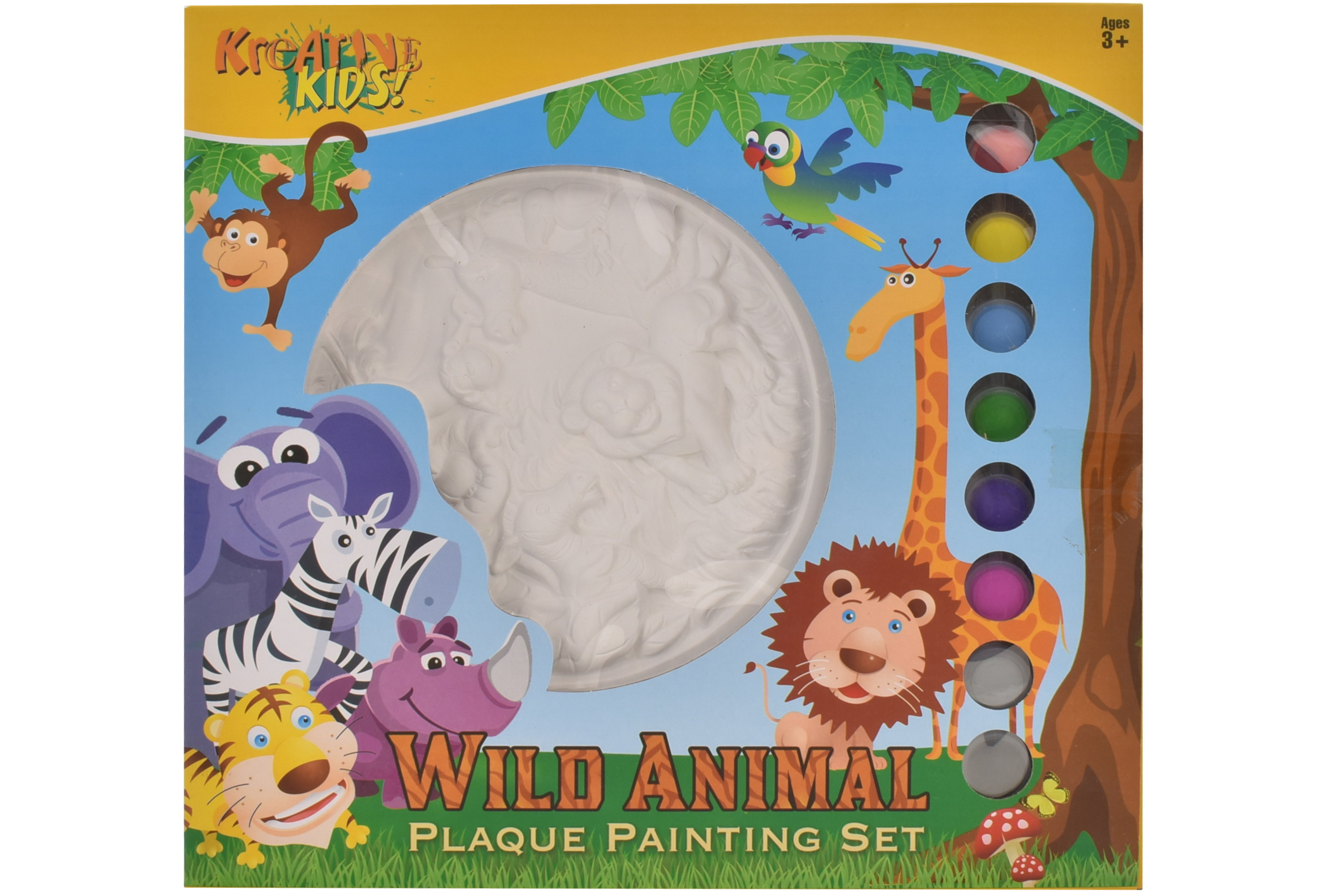 Wild Animal Plaque Plaster Painting Set In Window Box