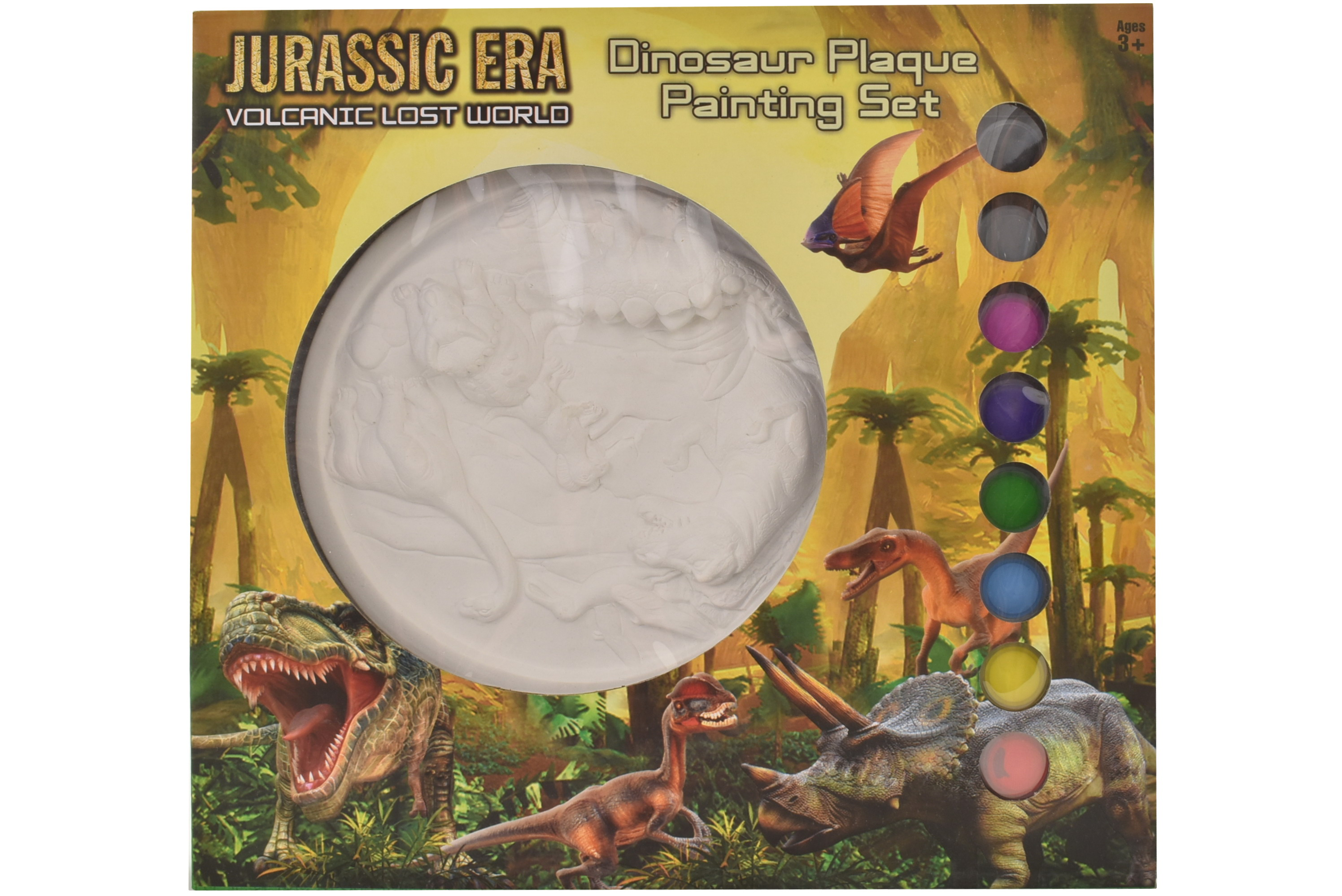 Dinosaur Plaque Plaster Painting Set In Window Box