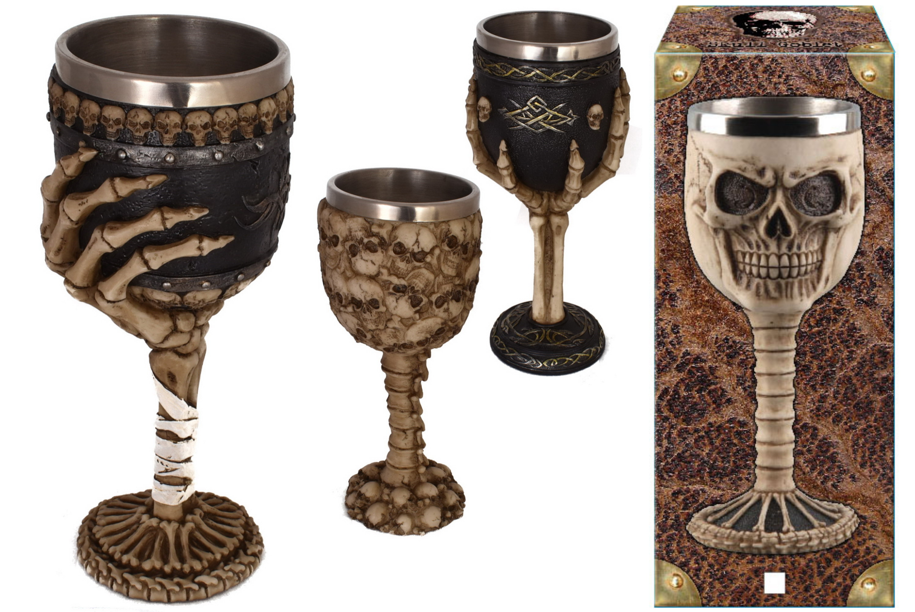 4 Assorted Goblets Skeleton Design