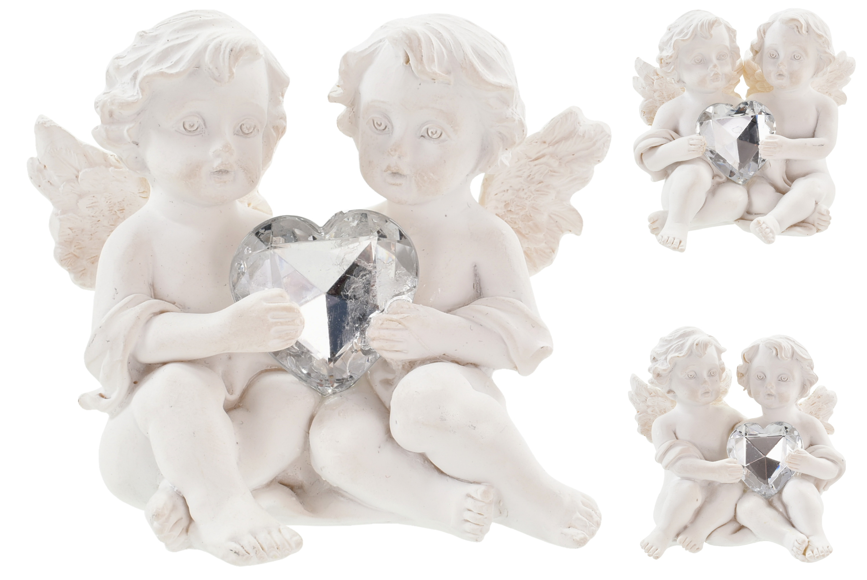 Double Angels Sitting With Clear Heart 3 Assorted