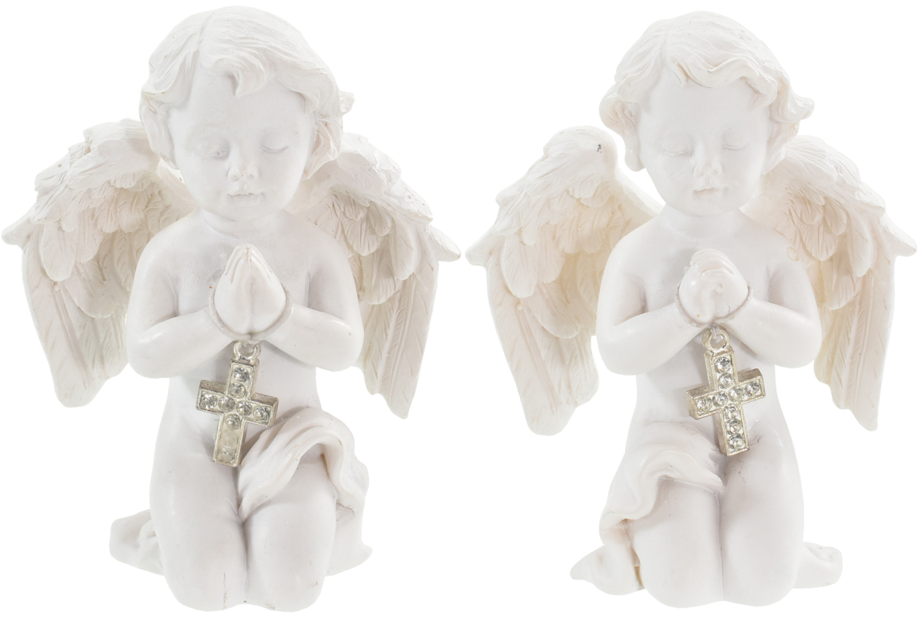 Angel Kneeling With Cross 7.5cm 2 Assorted