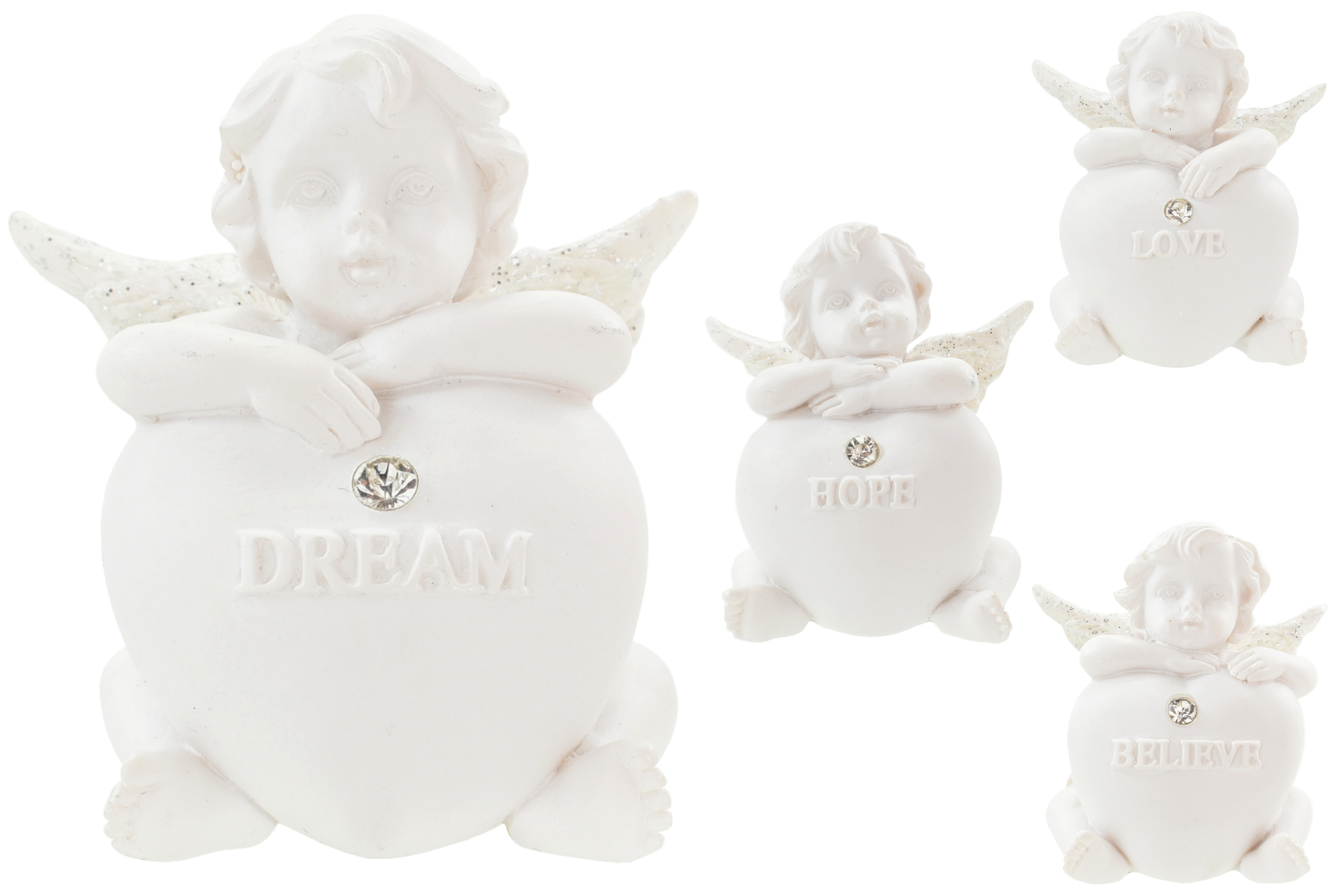 Angel Sitting With Sentiment Heart 4 Assorted