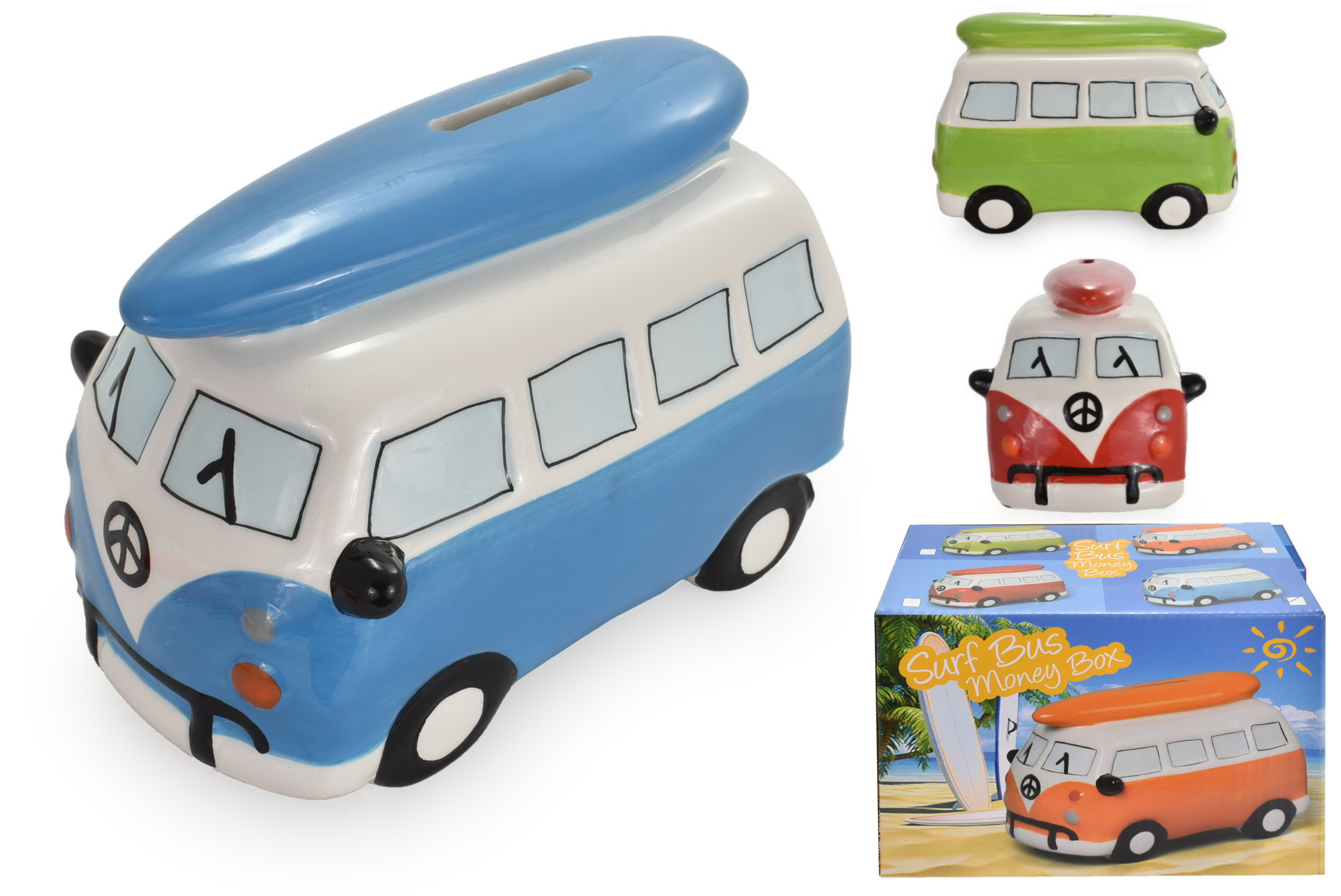 Ceramic Camper Bus With Surfboard Money Box (4 Asst)